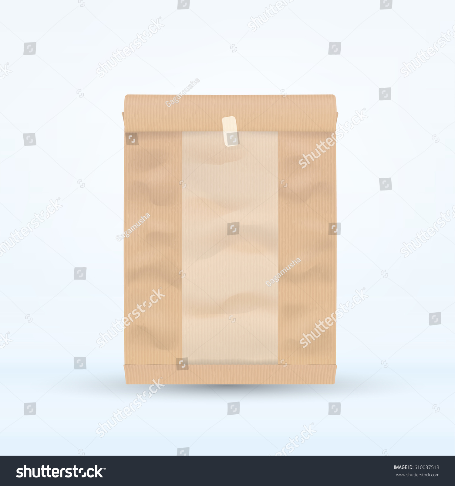 Brown Paper Bag Template Plastic Transparent Stock Illustration 610037513
