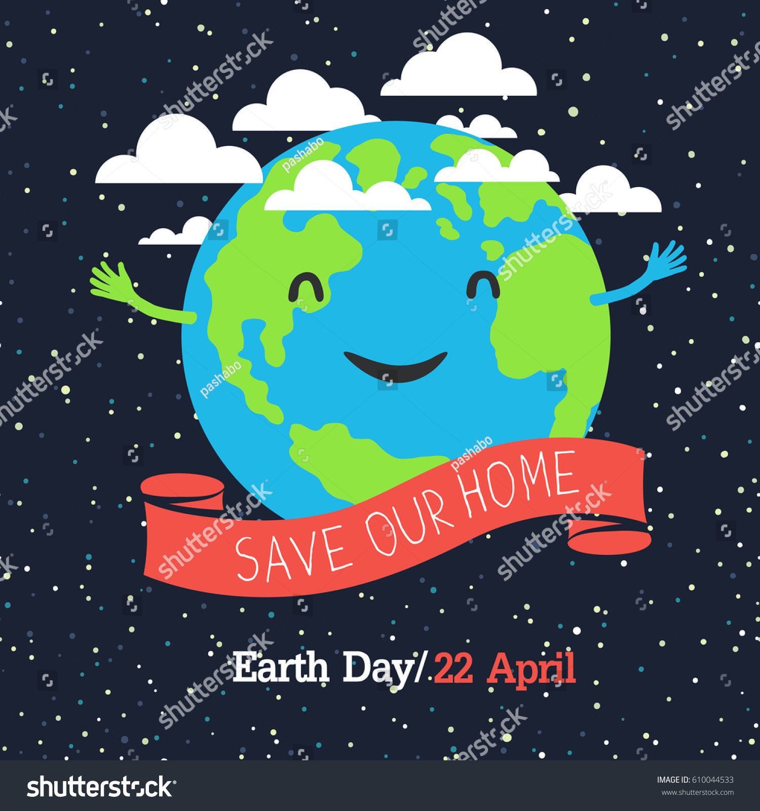 Earth day poster cartoon style planet stock vector for Outer space poster design