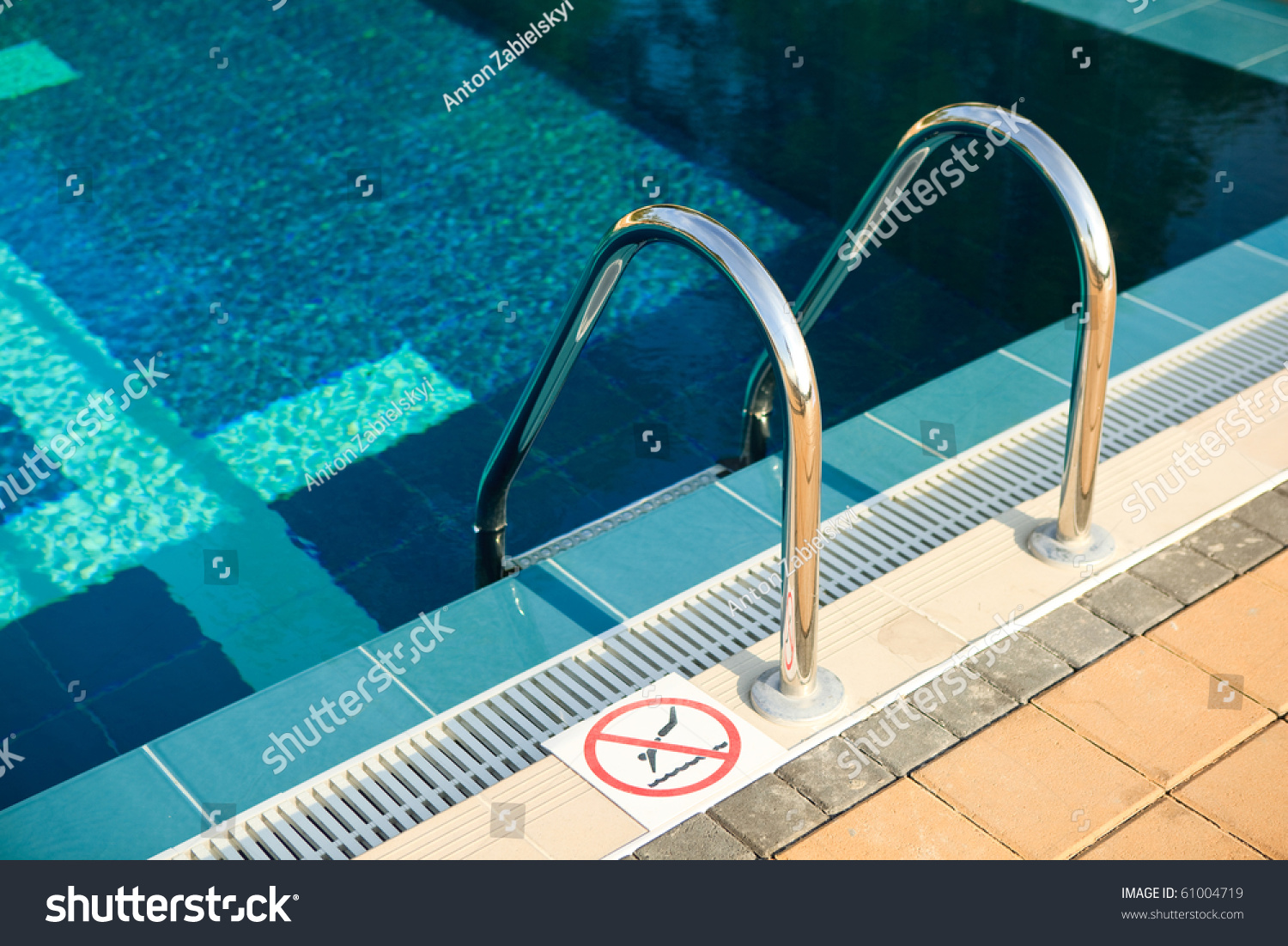 No Swimming Pool : Beautiful swimming pool with no sign stock photo