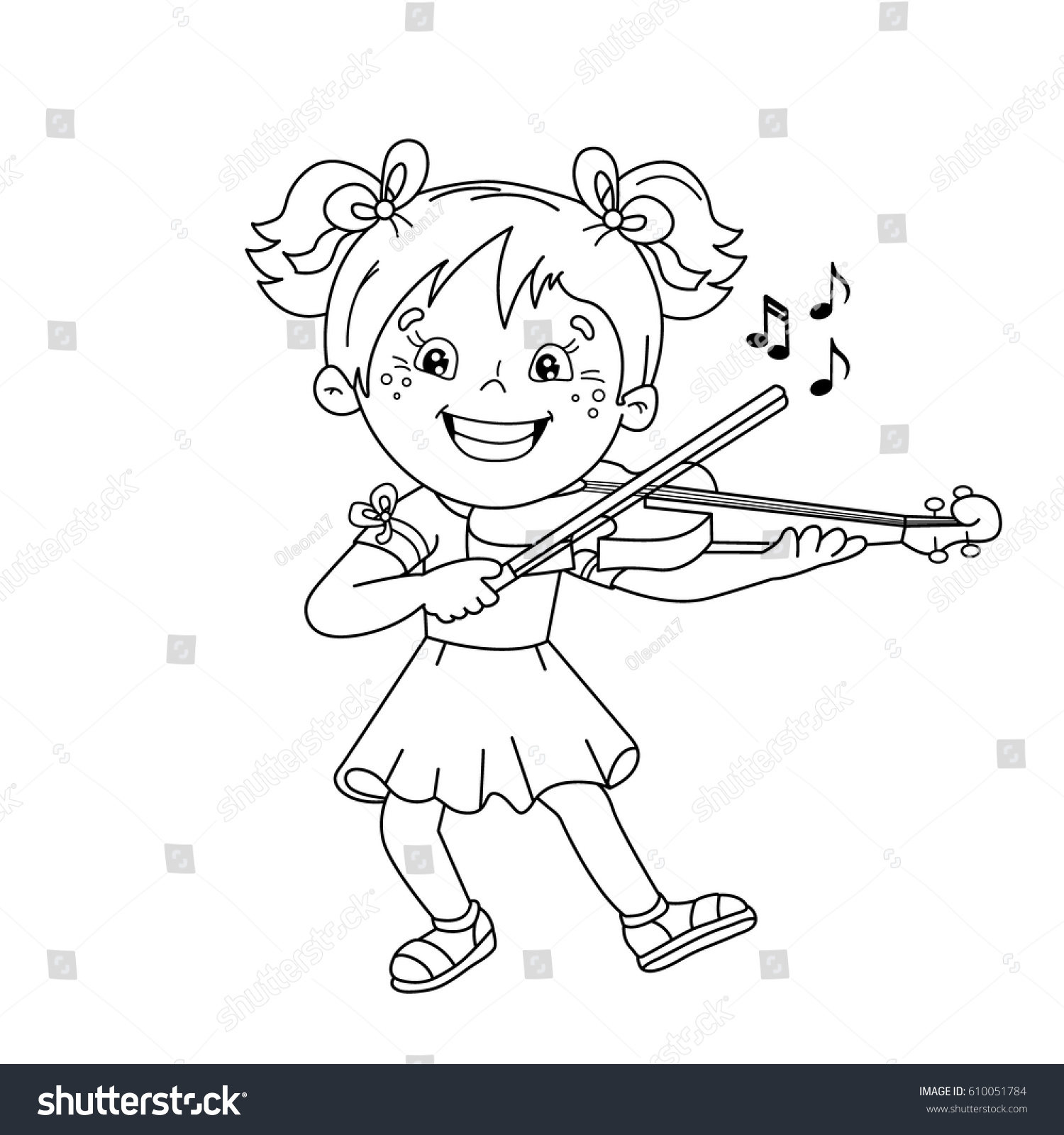 Coloring book for girl - Coloring Page Outline Of Cartoon Girl Playing The Violin Musical Instruments Coloring Book For