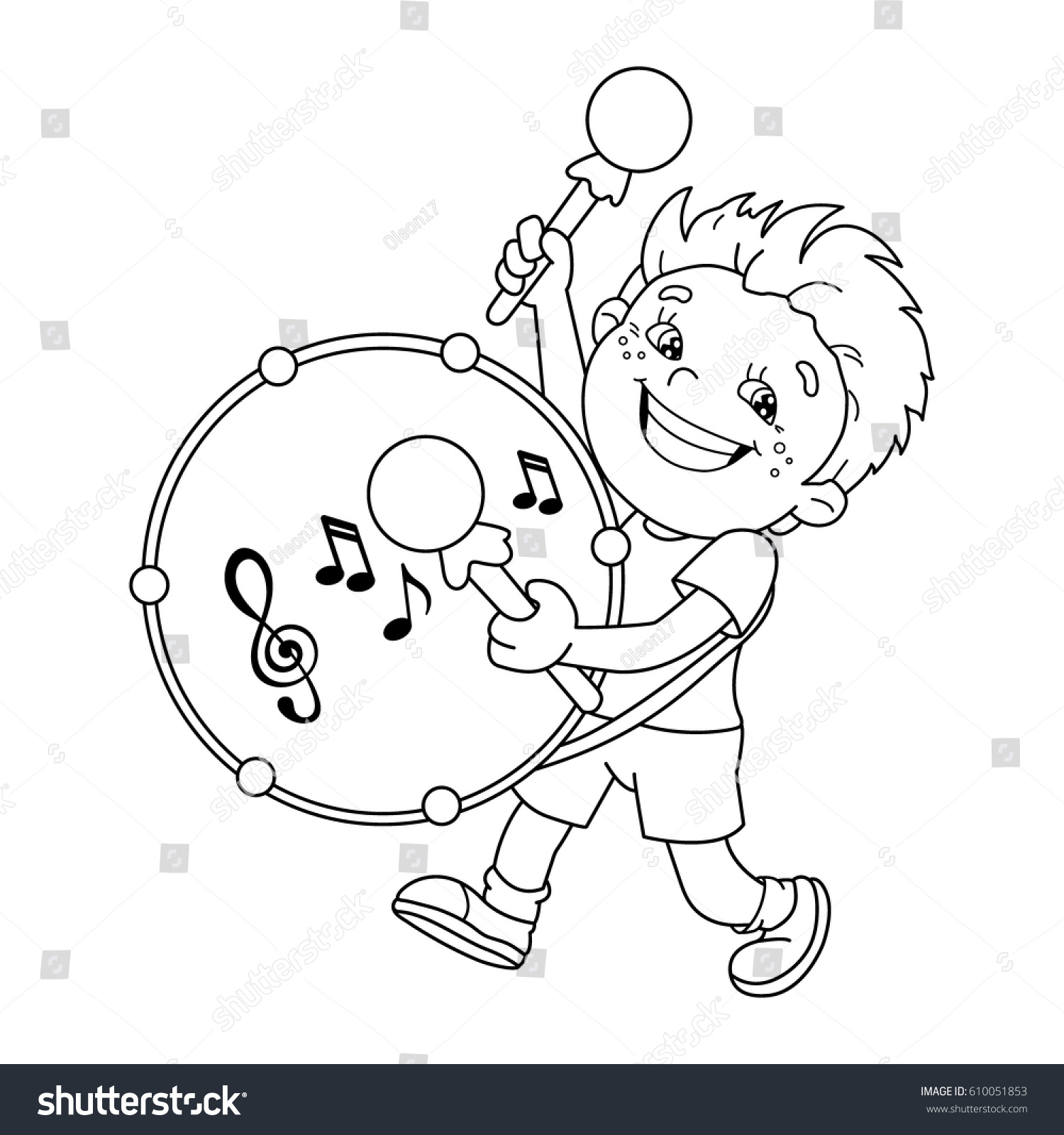 Coloring Page Outline Cartoon Boy Playing Stock Vector 610051853