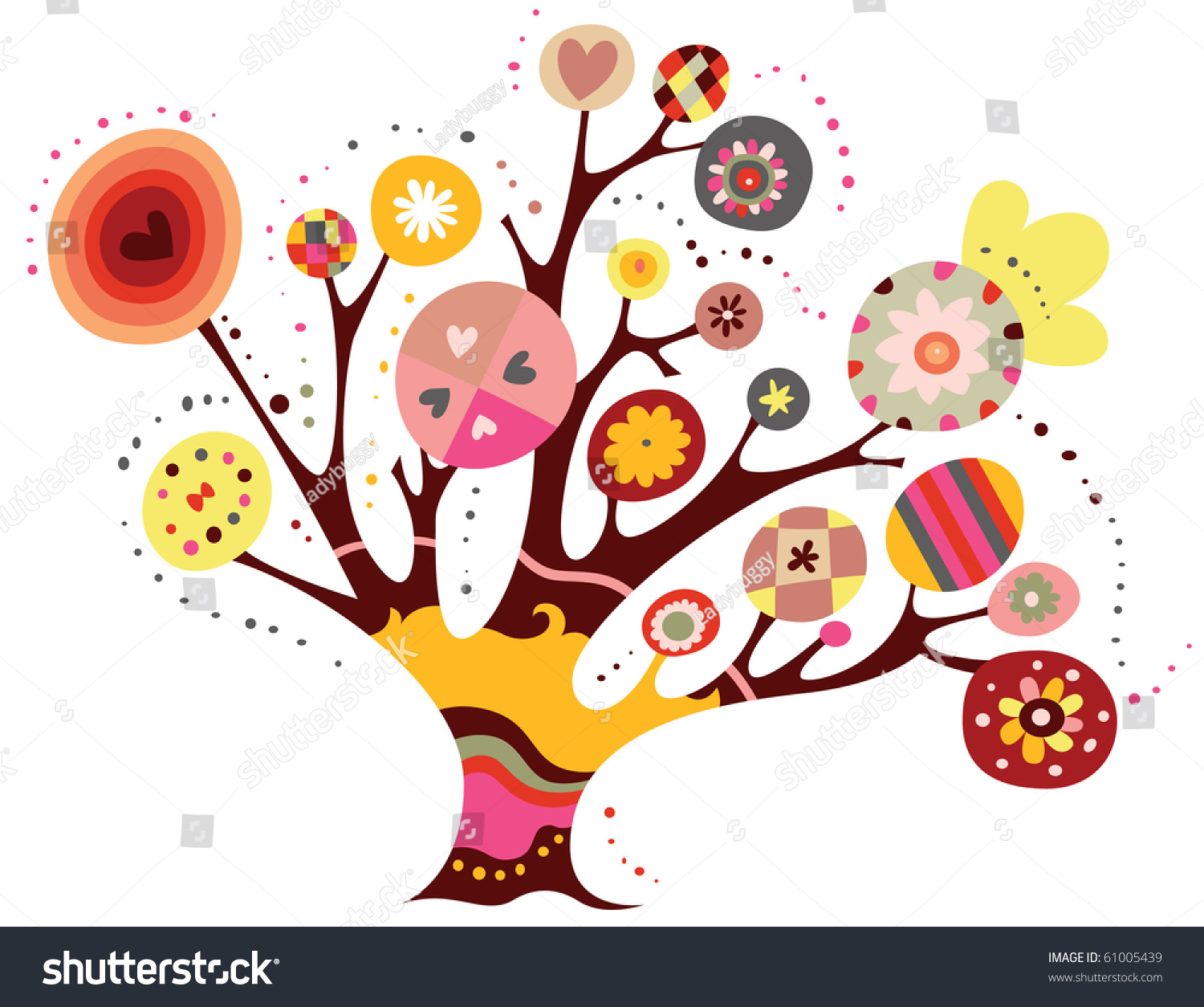 Whimsical Tree Geometric Shapes Bright Colors Stock Vector ...