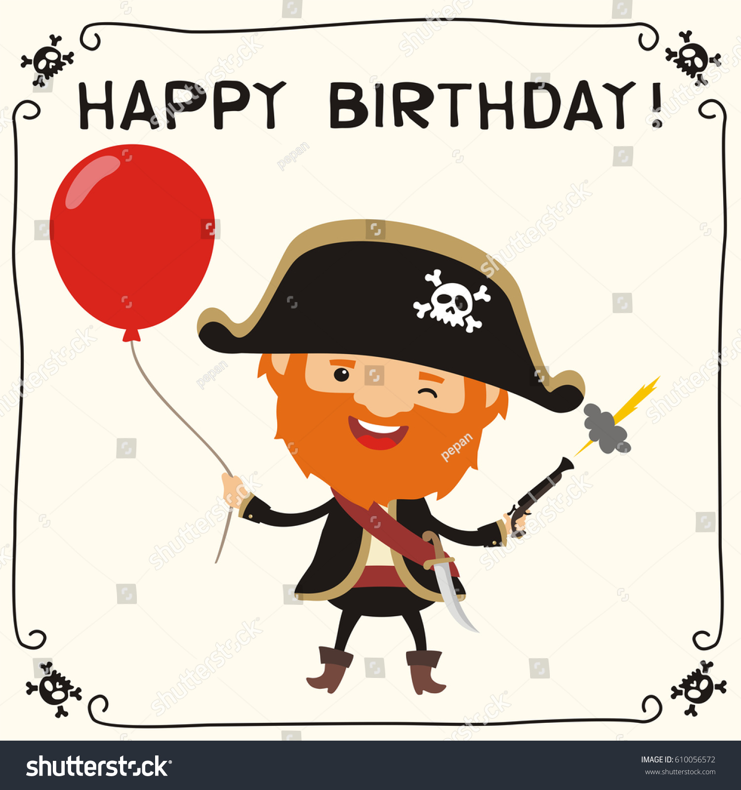 Happy birthday funny pirate red balloon stock vector royalty free funny pirate with red balloon greeting card m4hsunfo