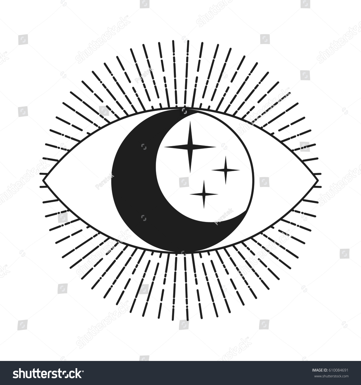 Symbol Eye Moon Stars Inside Hand Stock Vector (Royalty Free