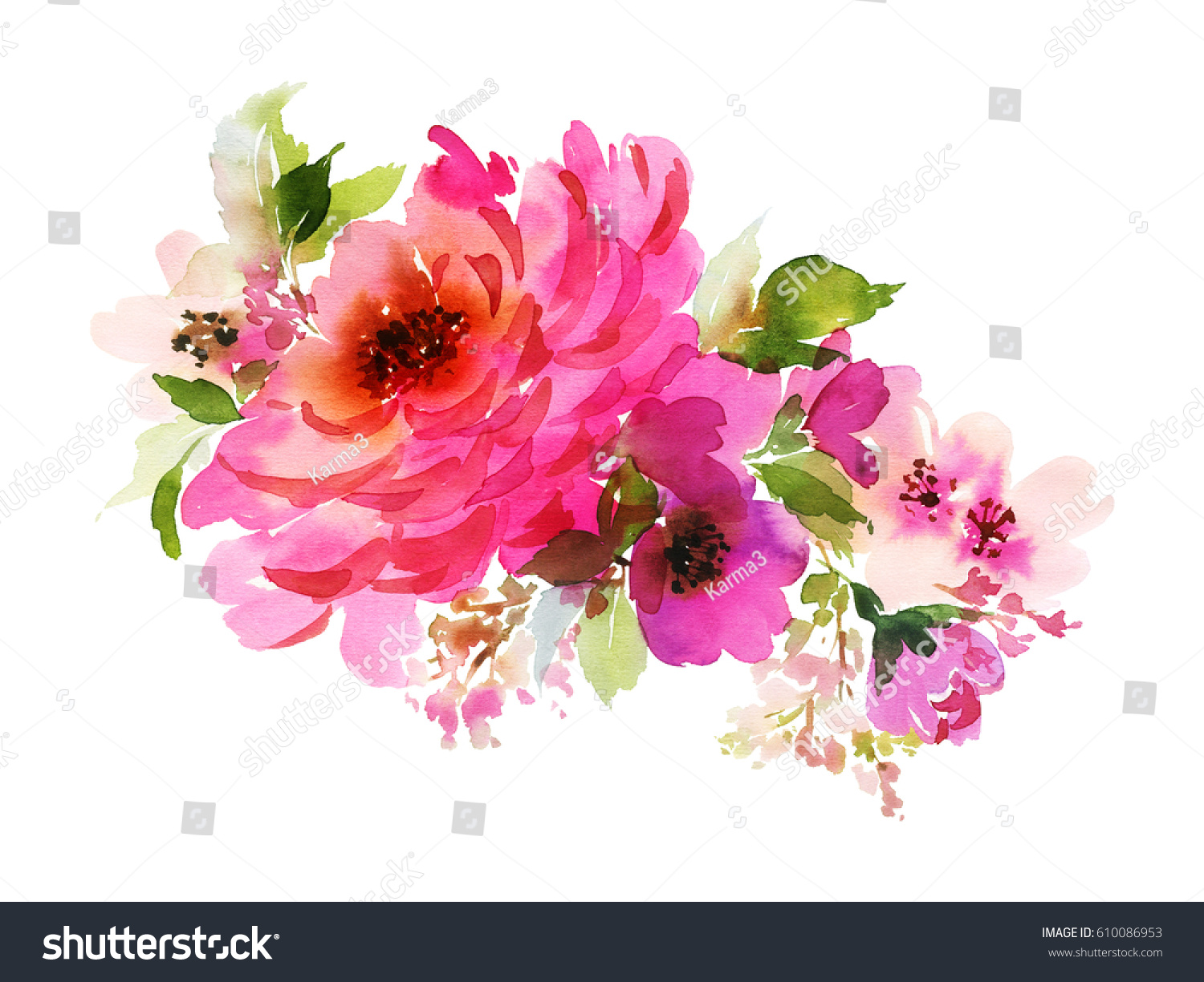 Bouquet big pink rose small flowers stock illustration 610086953 a bouquet with a big pink rose and small flowers in bright colors watercolor horizontal izmirmasajfo