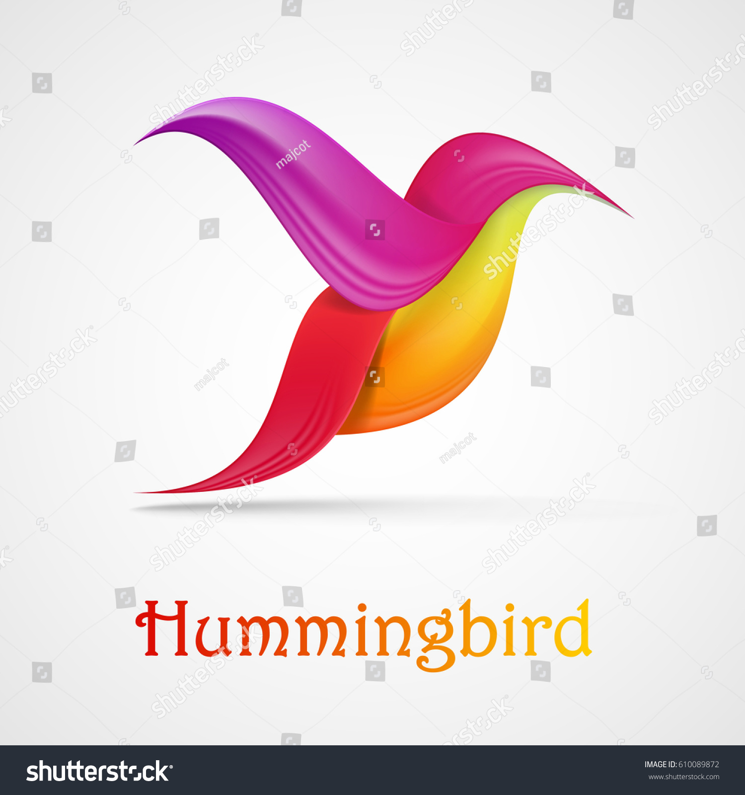 Hummingbird Abstract Symbol Illustration Isolated On Stock