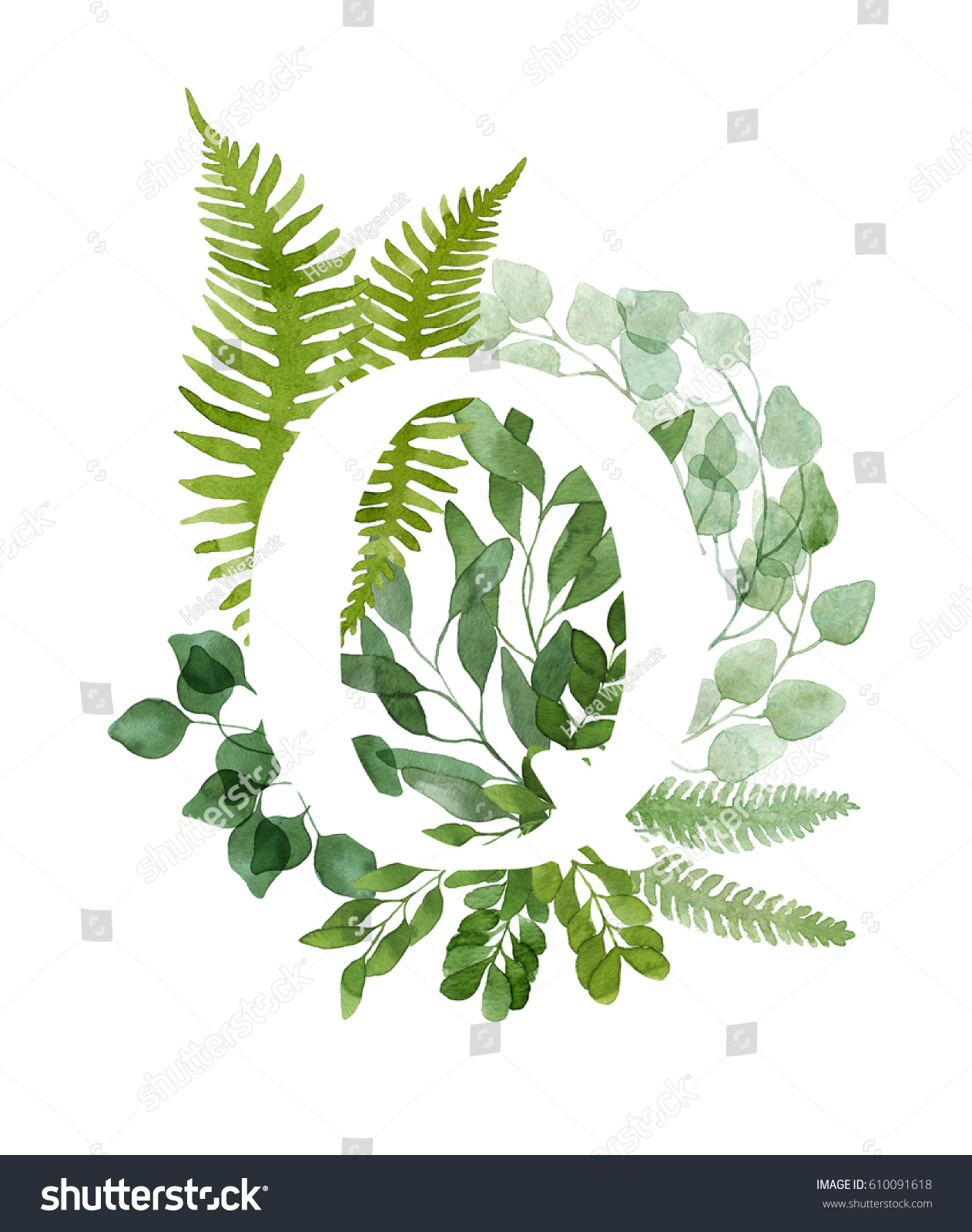 Floral letter q beautiful green leaves stock illustration for Watercolor greenery