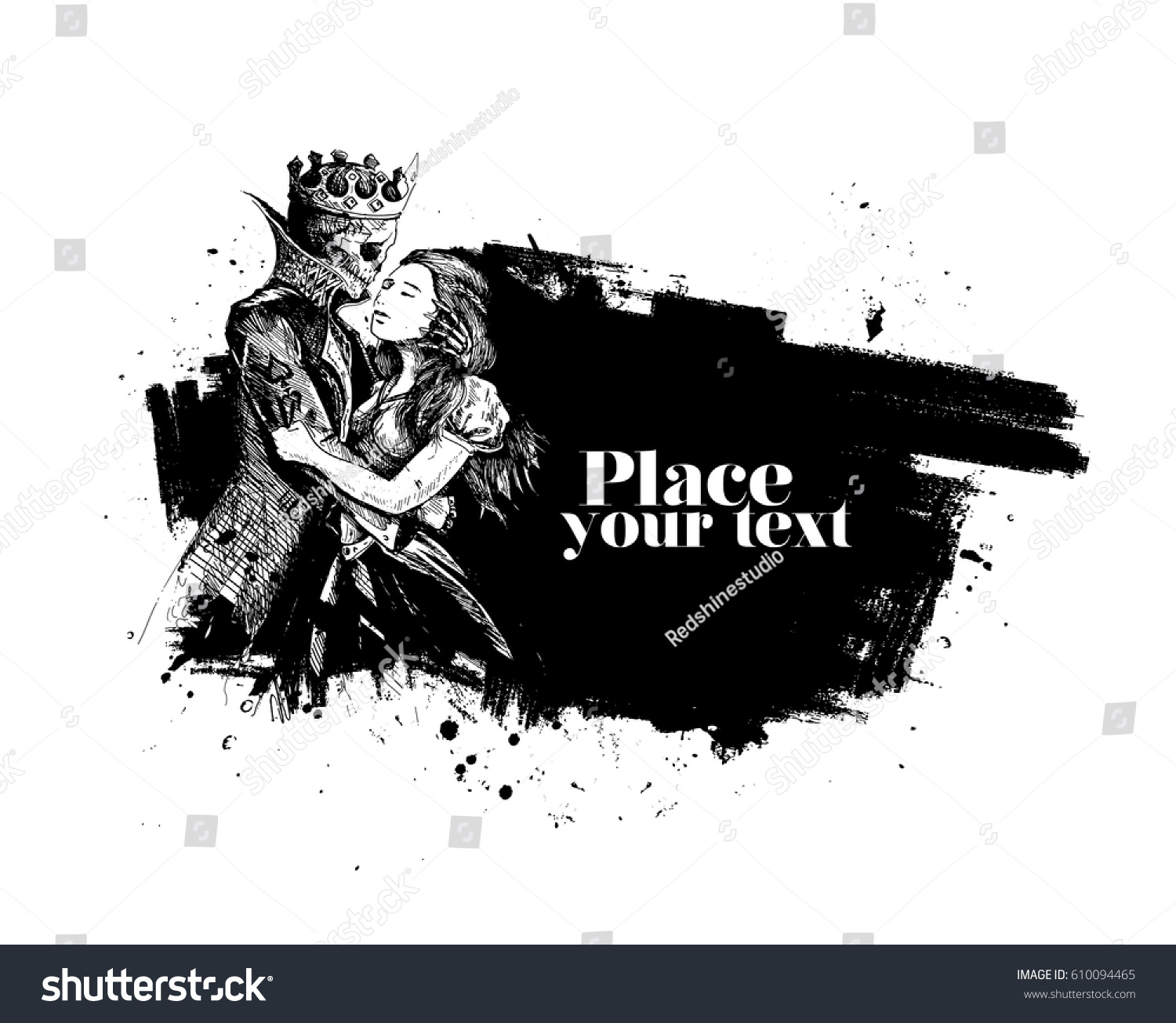 Beauty Beast Prince Girl Hand Stock Vector 610094465
