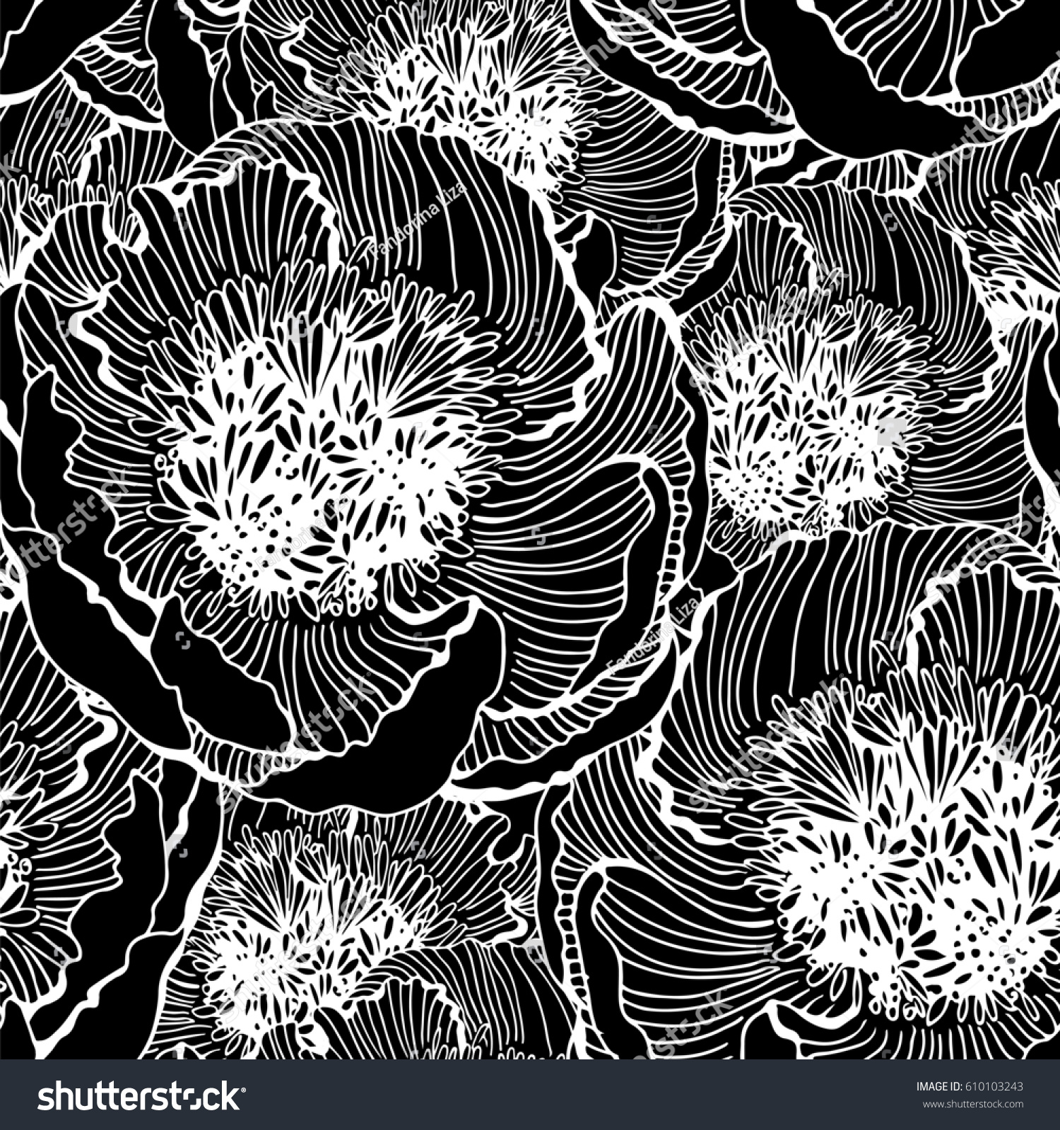 Black and white seamless pattern with graphic flowers floral illustration background textile decor and