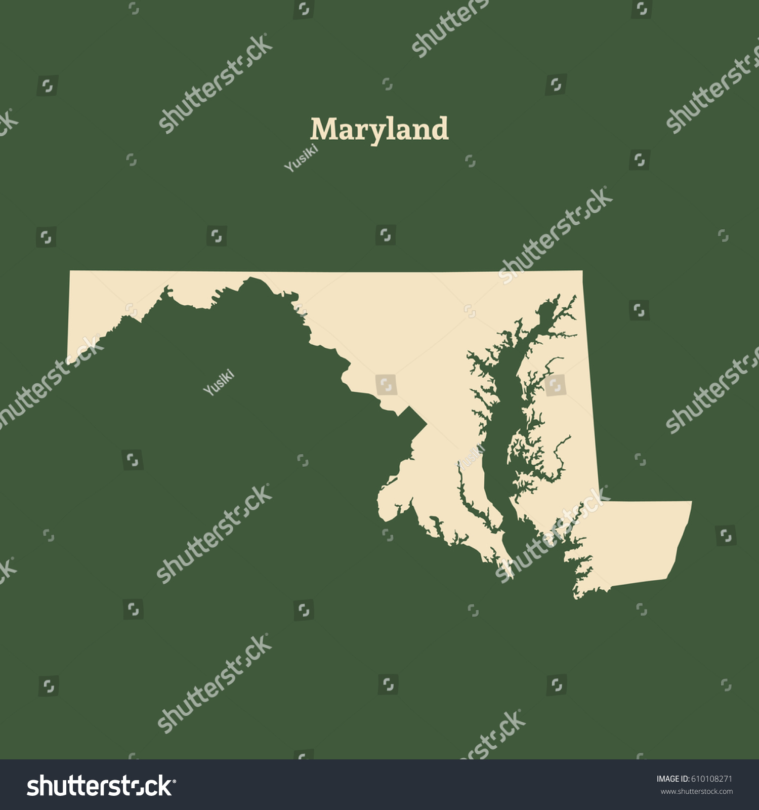 Outline Map Maryland Isolated Vector Illustration Stock Vector