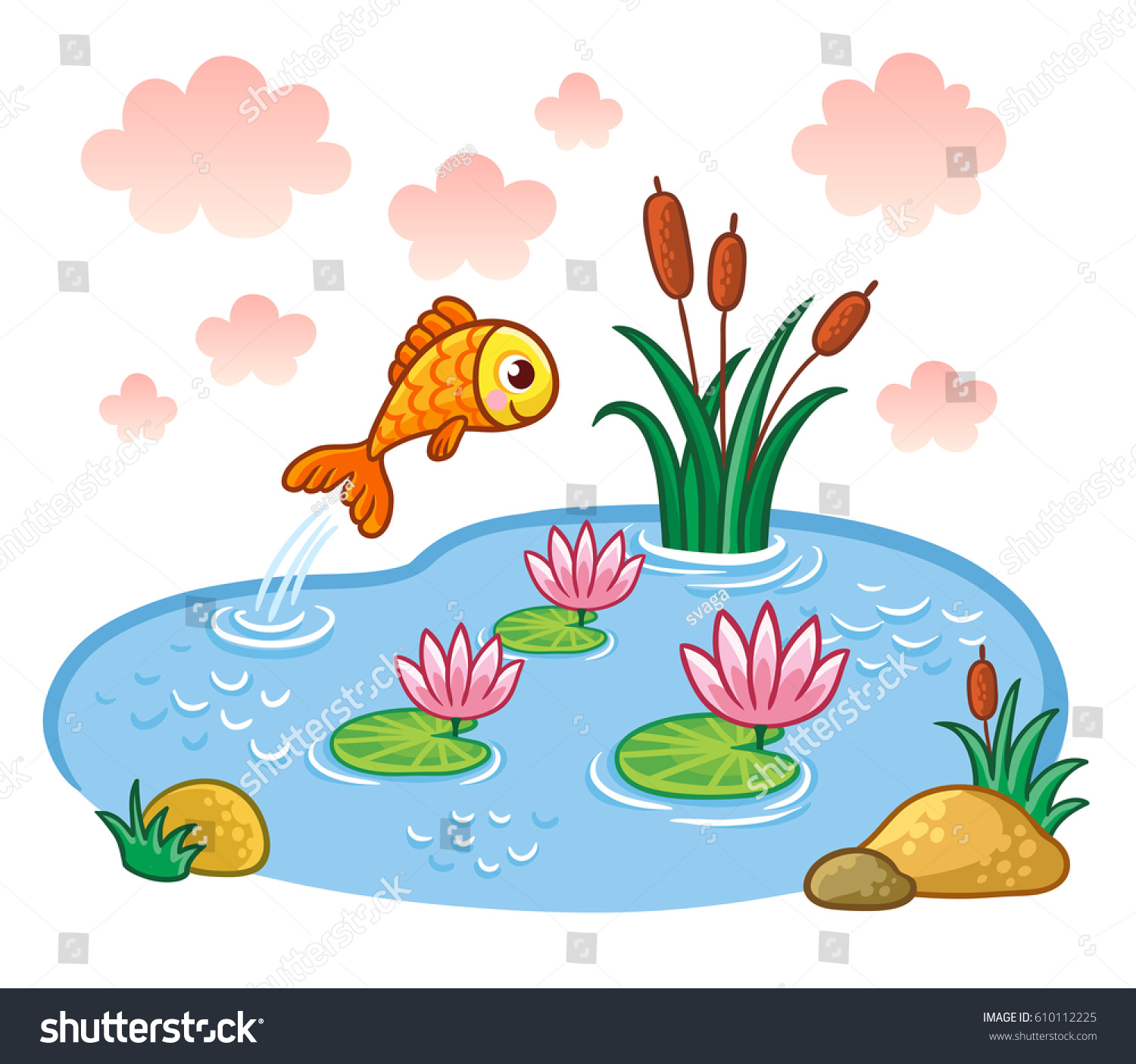 fish jumps into pond vector illustration stock vector farm animals clip art pictures farm animals clipart images