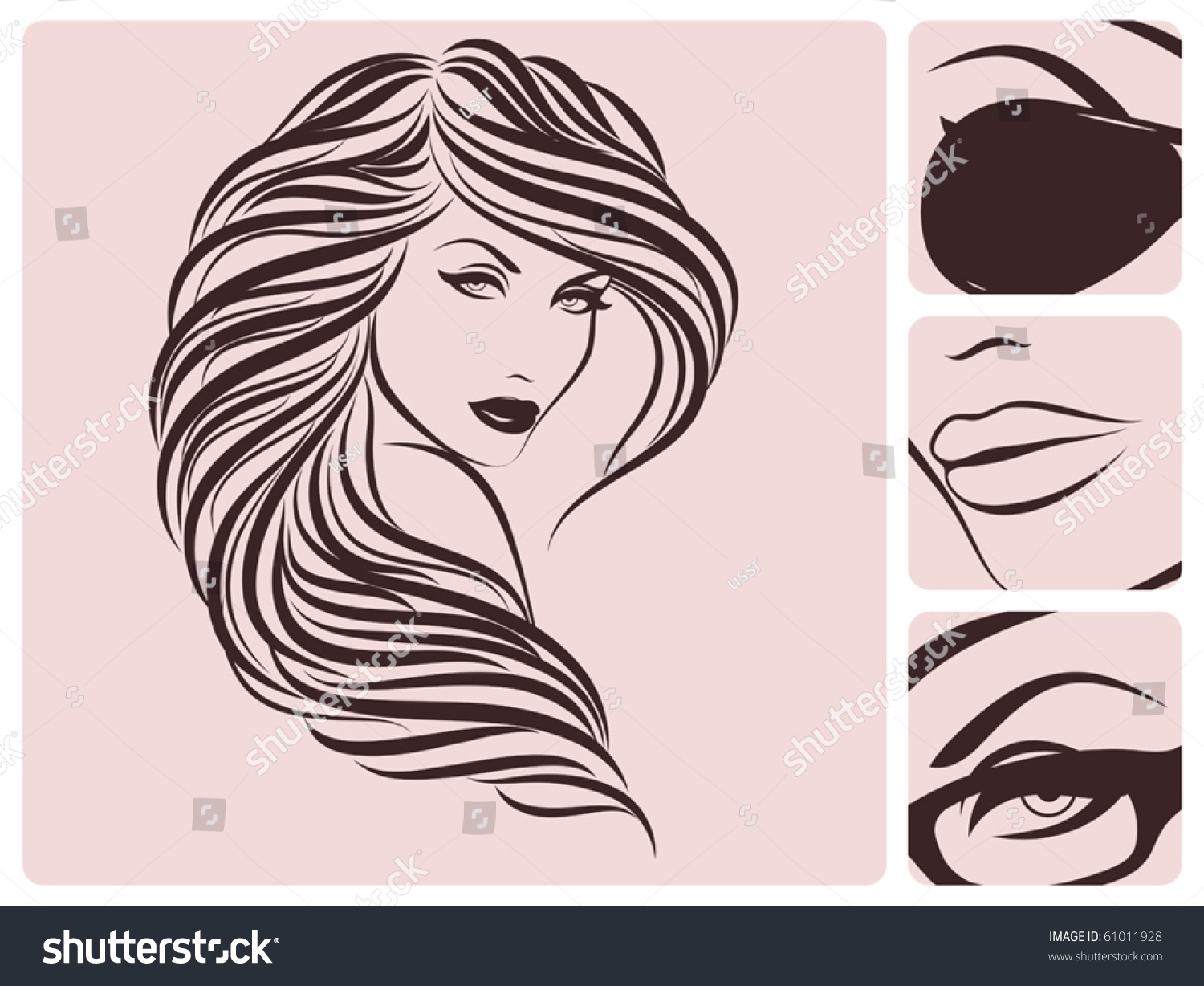 Long Curly Hairstyle. Vector Illustration. - 61011928 : Shutterstock