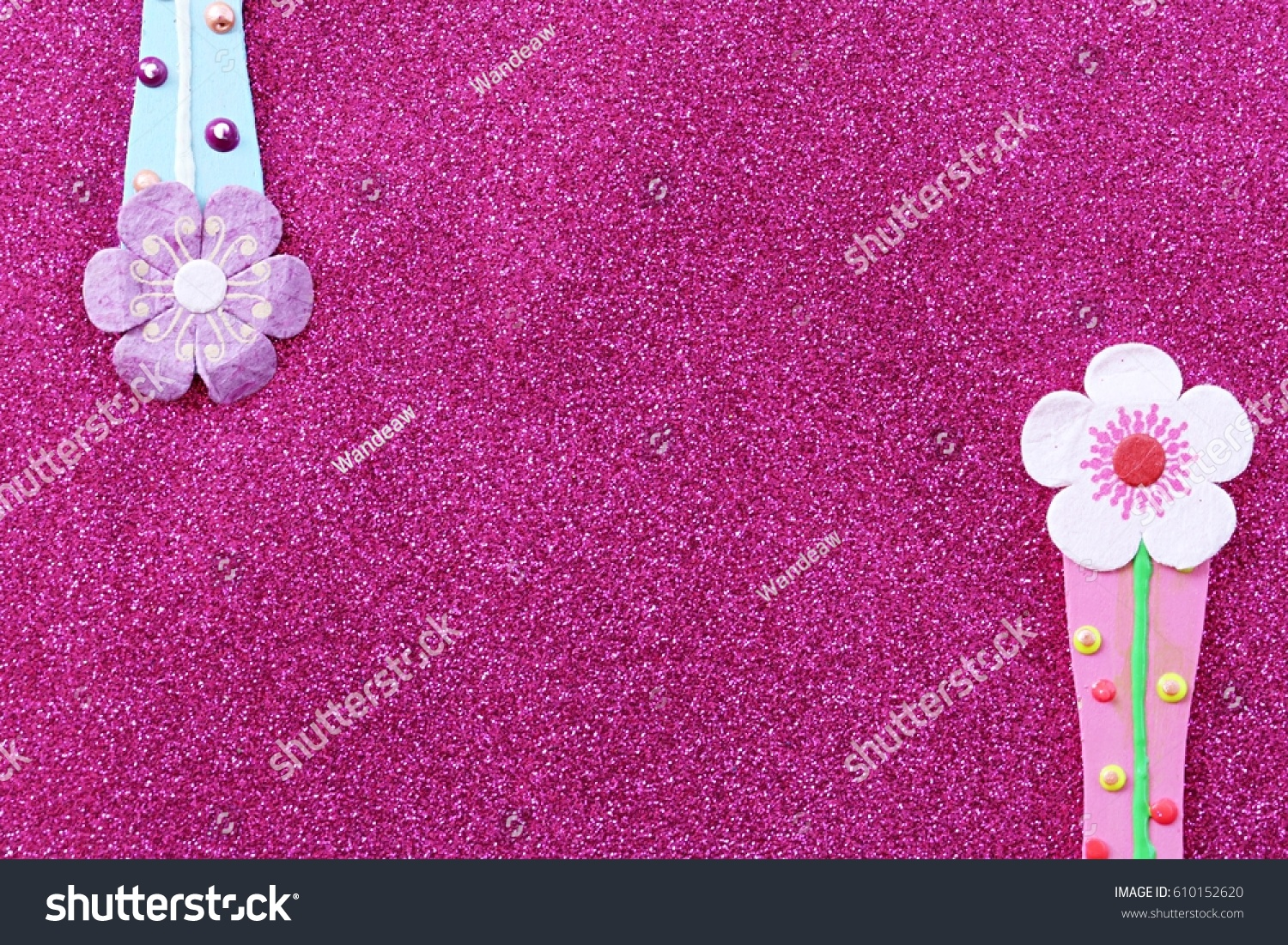 Pink Glitter Flowers Decoration Abstract Background Stock Photo