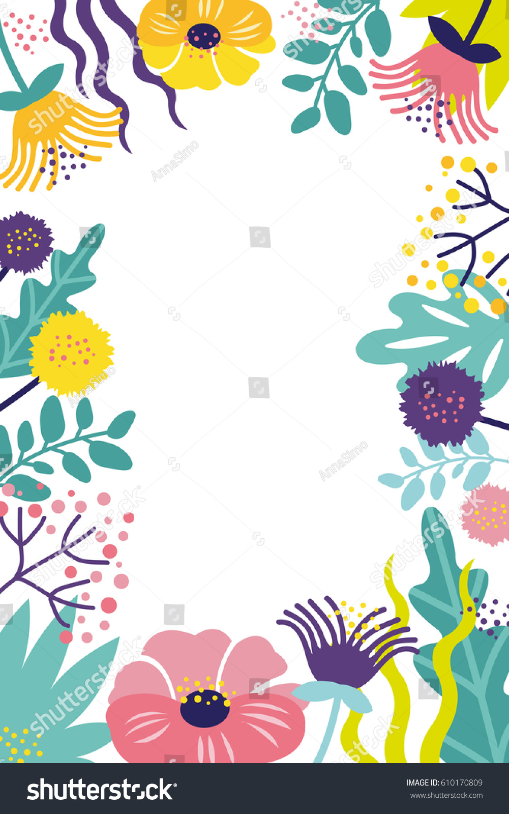 Fantasy Flower Frame Template Card Poster Stock Photo (Photo, Vector ...