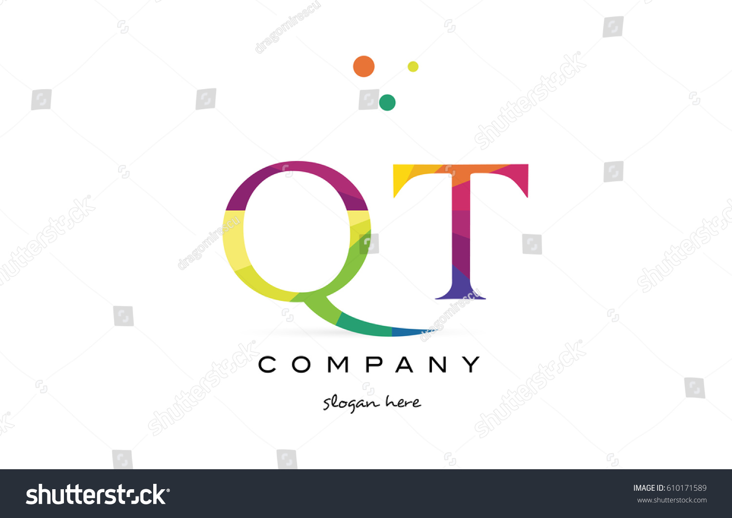 qt q t creative rainbow colors colored alphabet company letter logo design  vector icon template