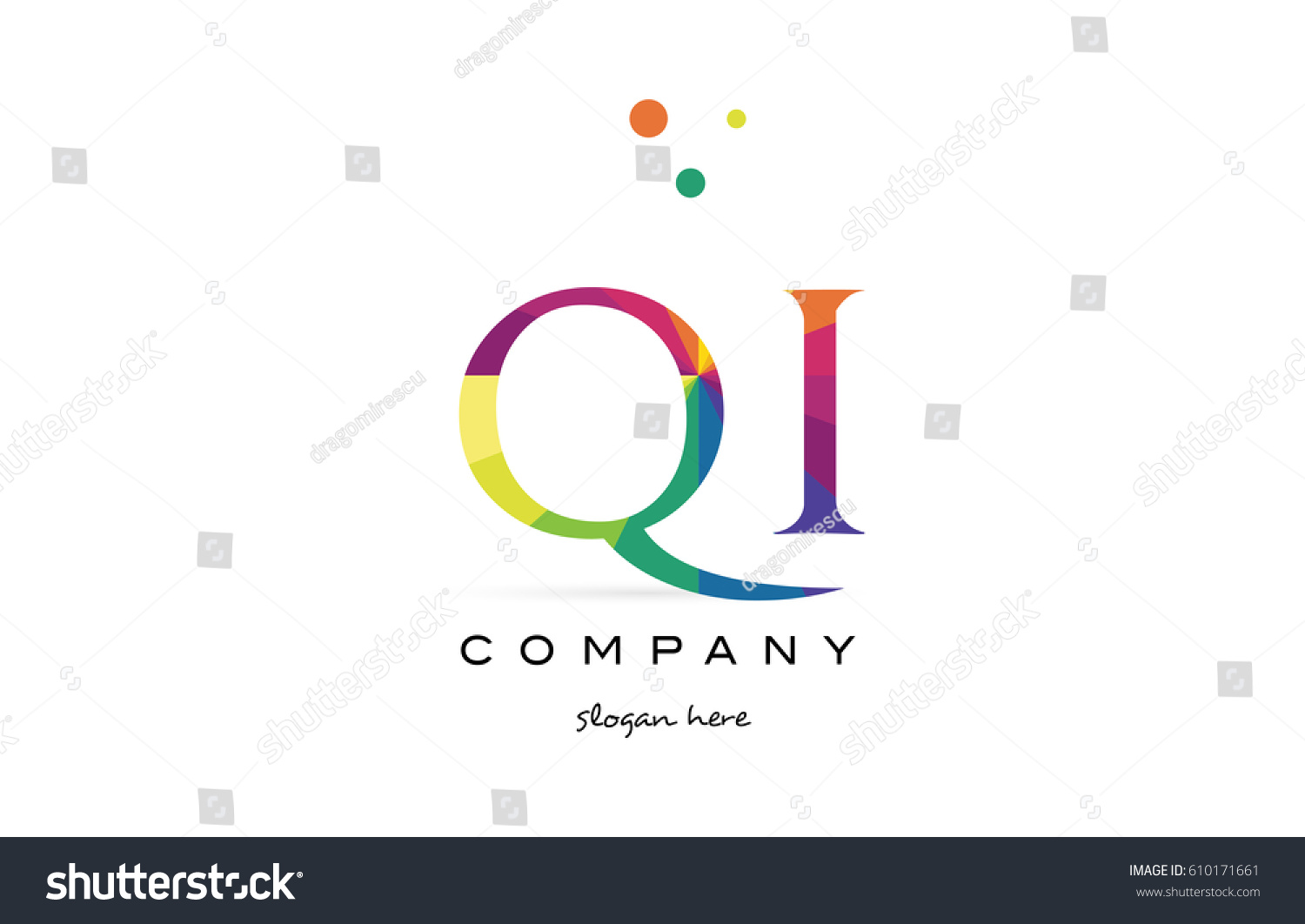 qi q i creative rainbow colors colored alphabet company letter logo design  vector icon template