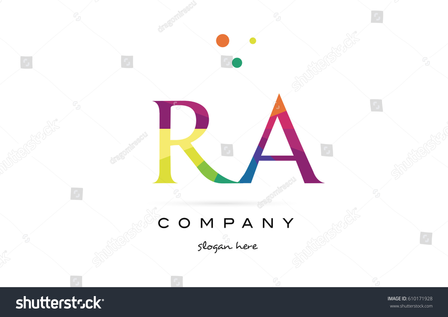 ra r q creative rainbow colors colored alphabet company letter logo design  vector icon template