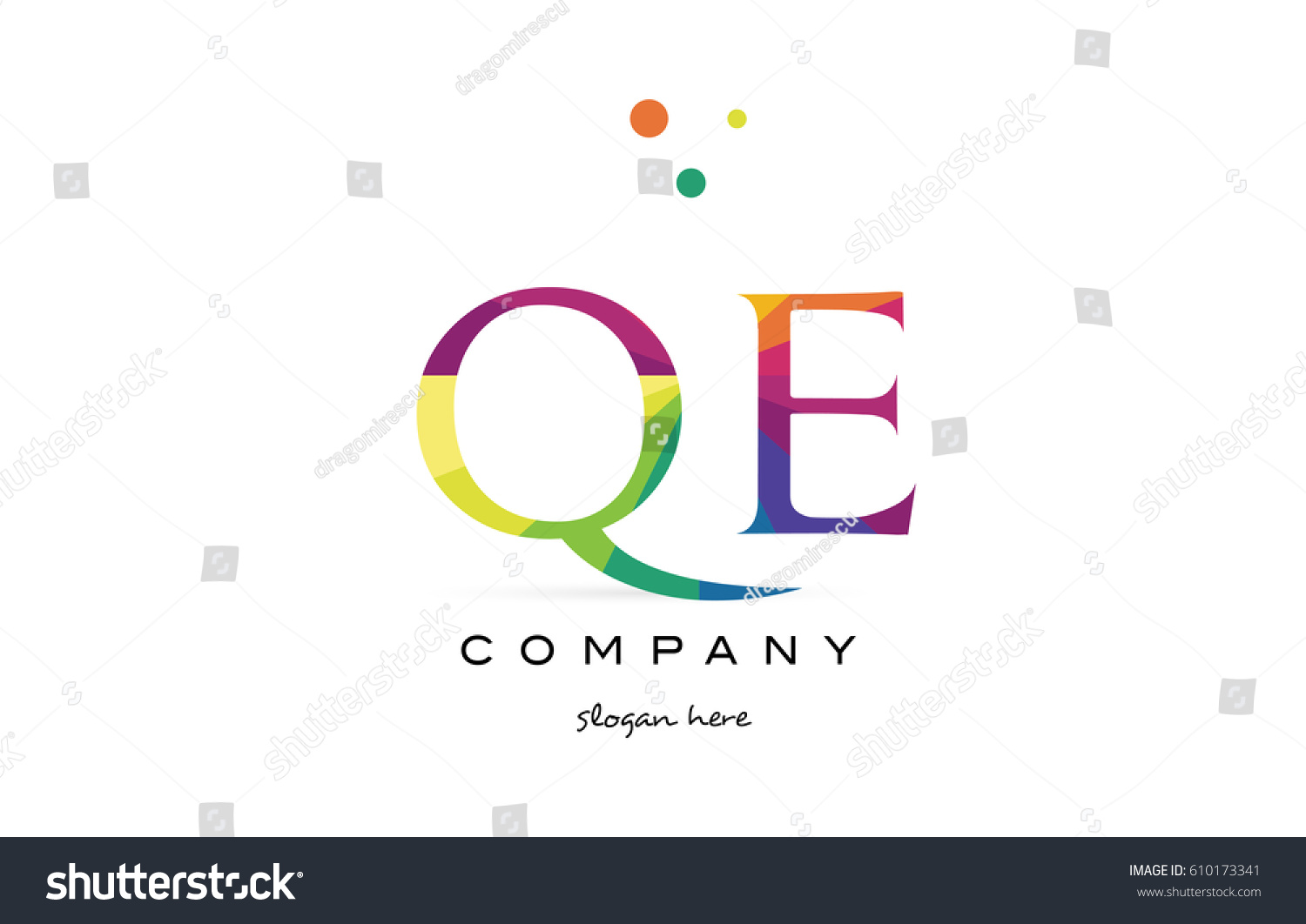 qe q e creative rainbow colors colored alphabet company letter logo design  vector icon template
