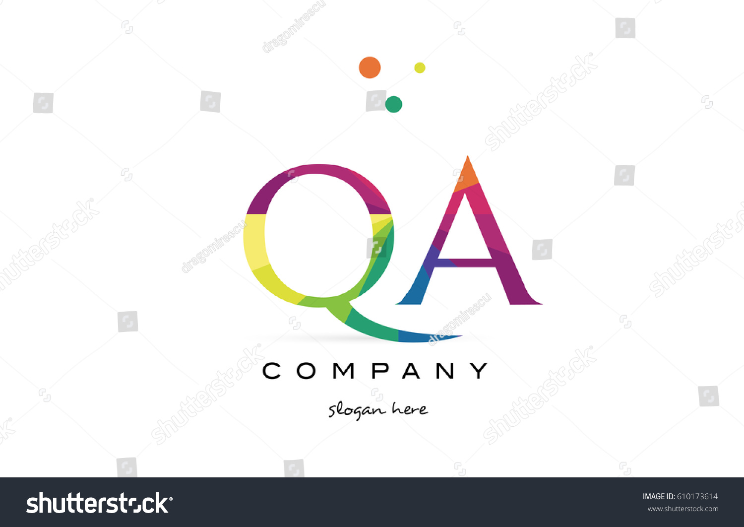 qa q a creative rainbow colors colored alphabet company letter logo design  vector icon template