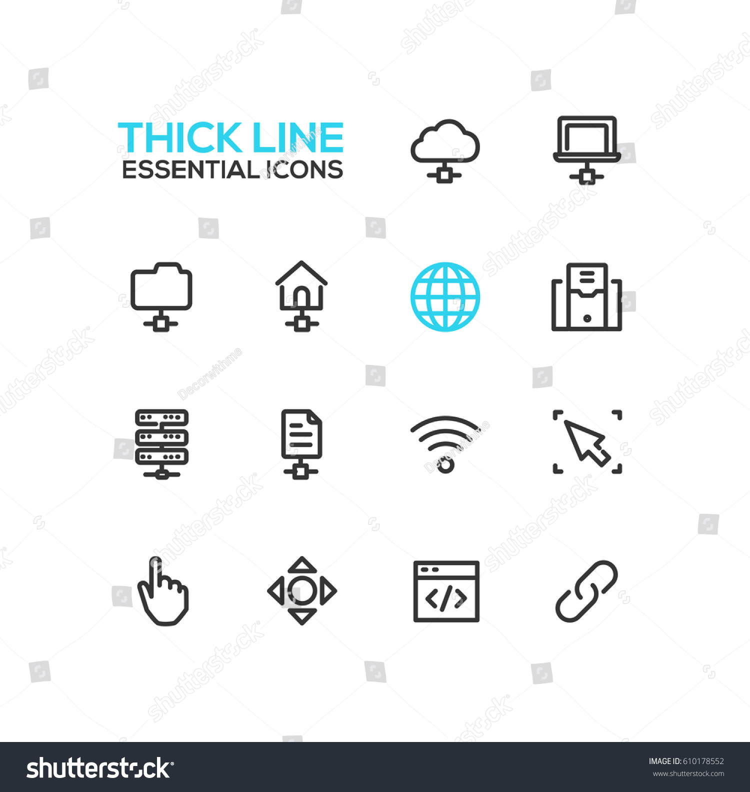 Network Data - modern vector single thick line icons set. Network, cloud,  laptop