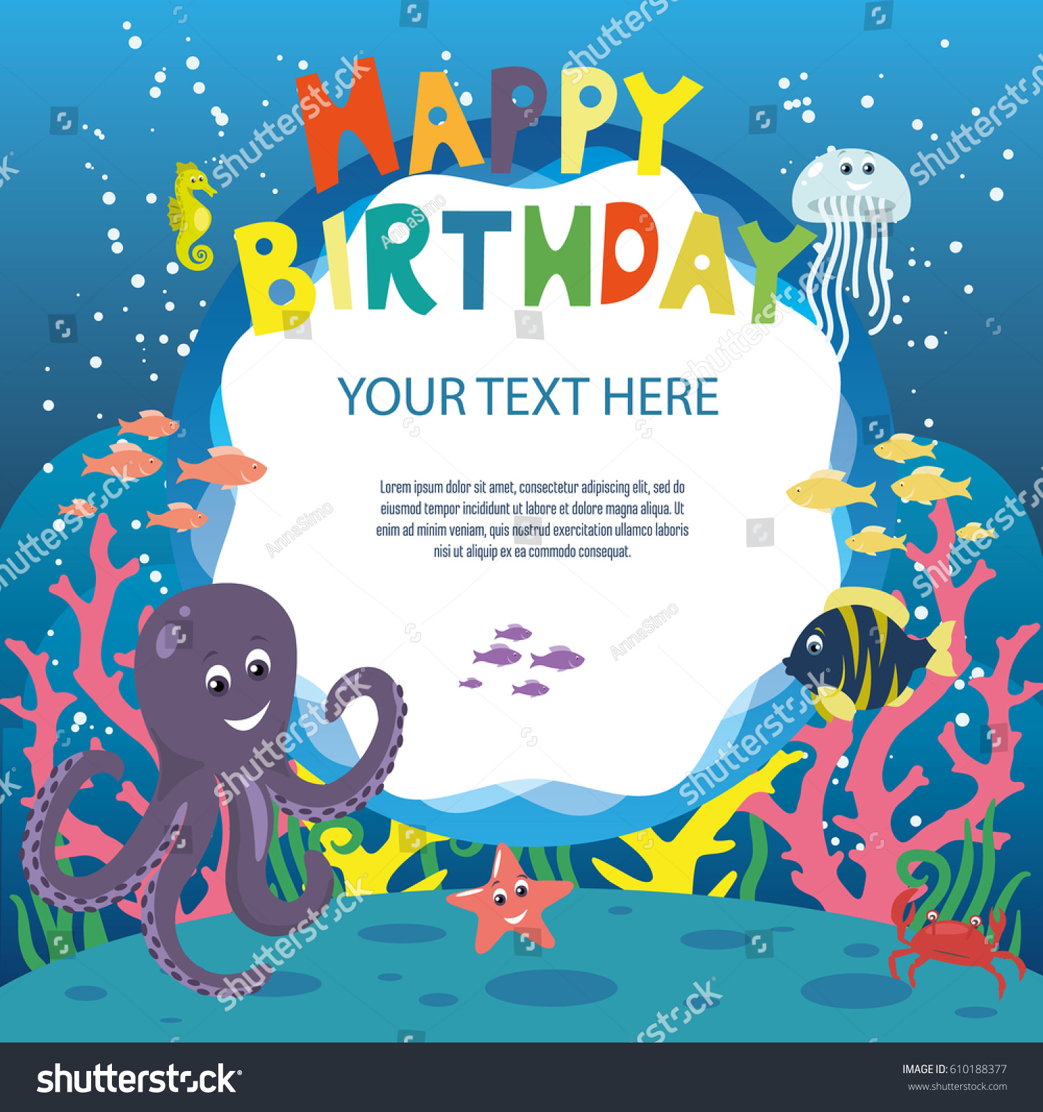 6 Birthday Card Templates: Happy Birthday Invitation Card Template Sea Stock Vector