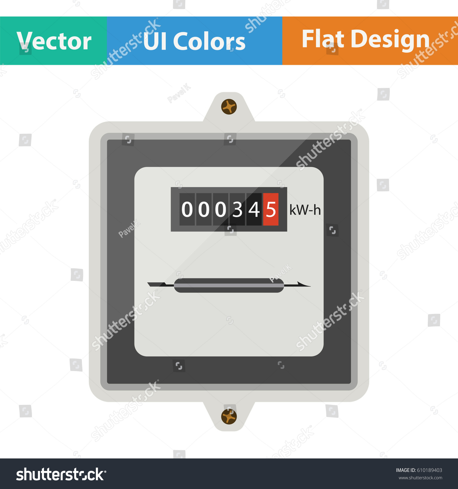 Electric Meter Icon Flat Design Vector Stock Vector HD (Royalty Free ...