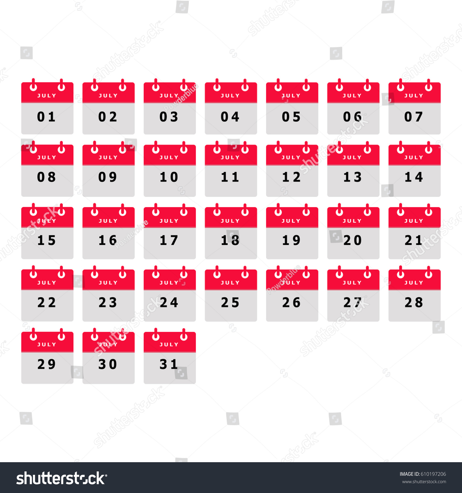 Calendar Number July Month Template Illustrator Stock Vector ...