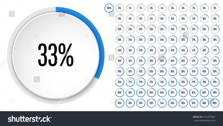 Set Circle Percentage Diagrams 0 100 Stock Vector