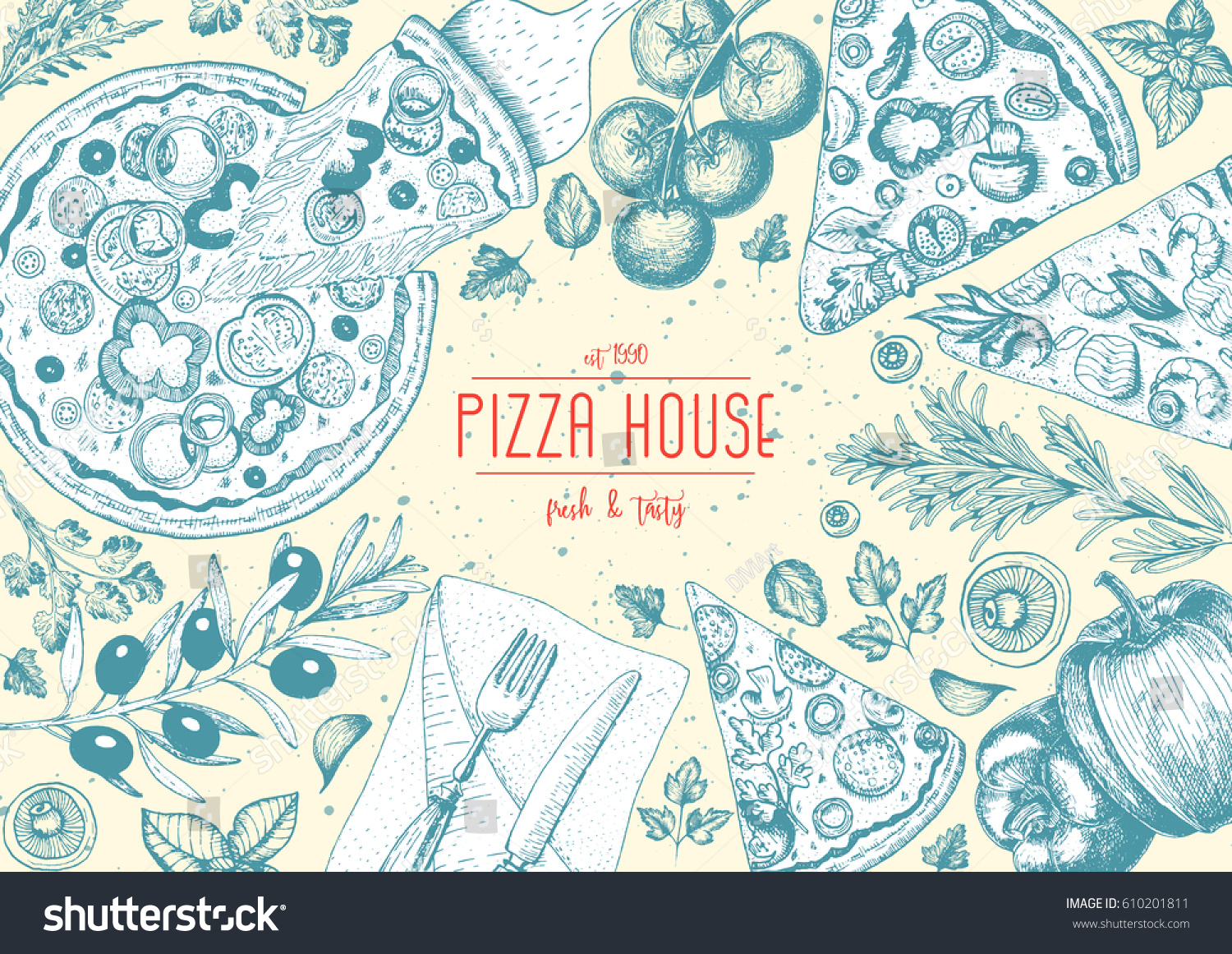 Pizza Top View Frame Italian Food Stock Vector 610201811 - Shutterstock