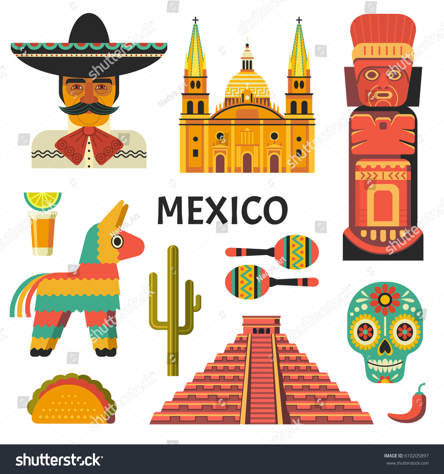 mexico poster vector icons collection mexican stock vector