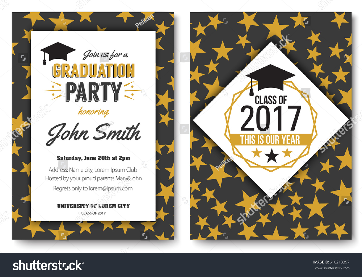 graduation party vector template invitation traditional のベクター