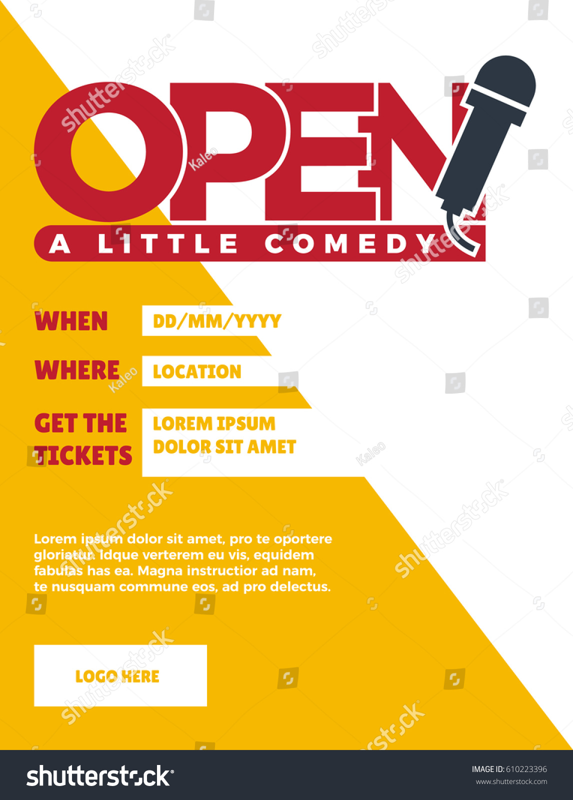 Open mic concept poster venue date stock vector royalty free open mic concept poster venue date and ticket template for a comedy show stopboris Gallery