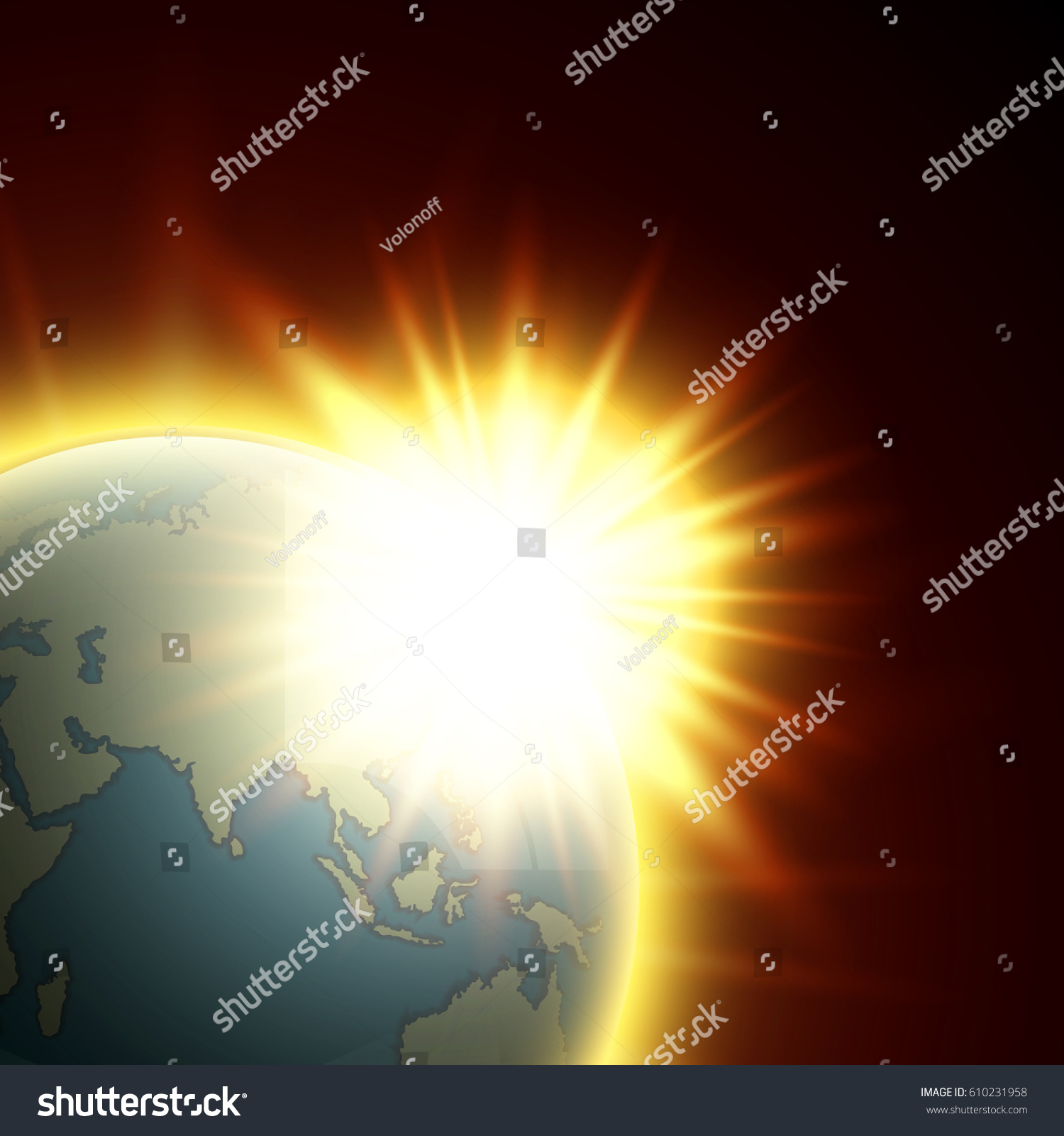 Vector world map rising sun globe stock vector 610231958 vector world map with the rising sun globe icon in the space sunlight planet gumiabroncs Choice Image