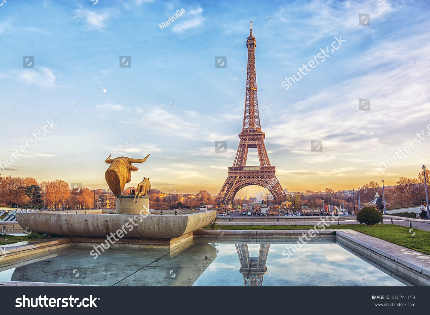 Outdoor cafe in paris with tower in background - Eiffel Tower At Sunset In Paris France Romantic Travel Background