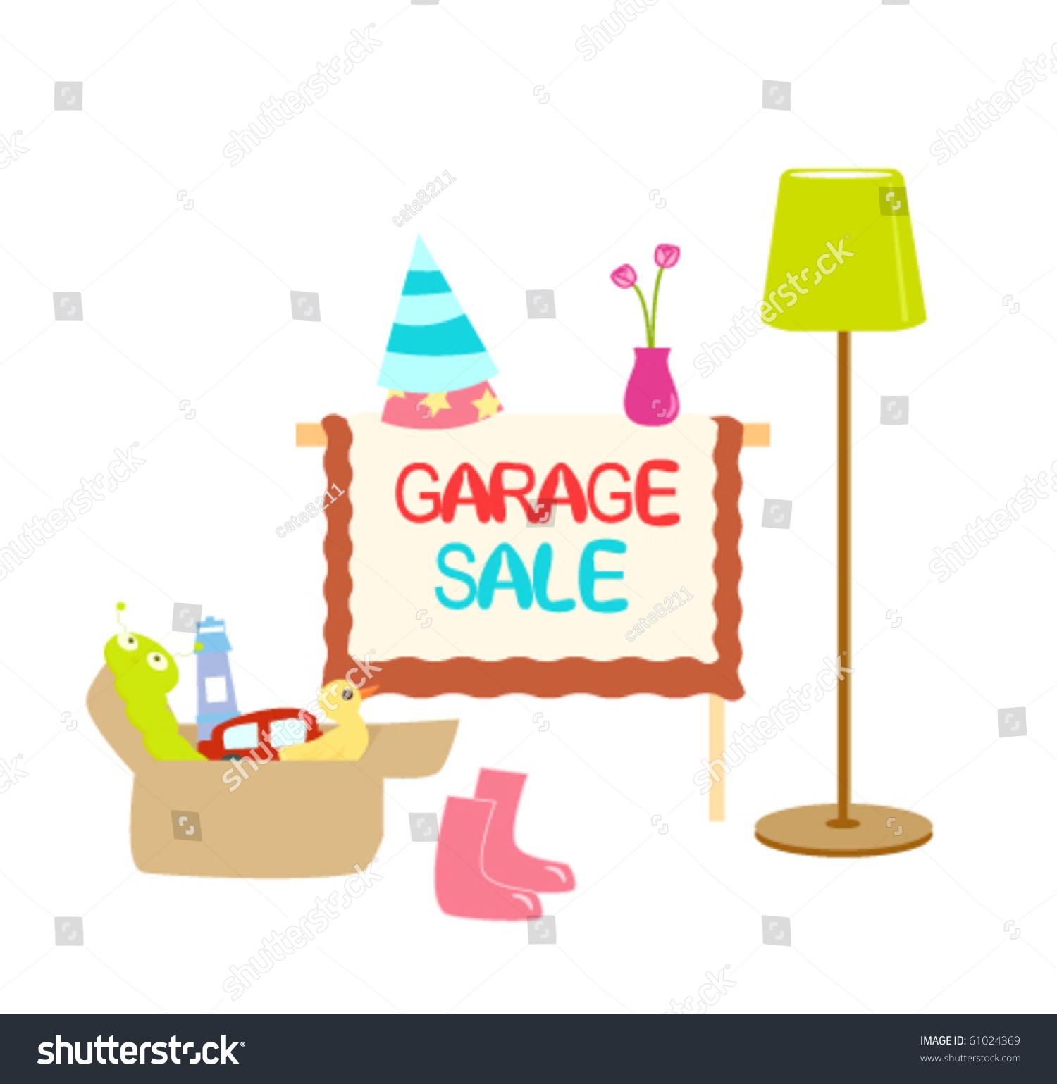 illustration of garage sale items with sign   garage sale