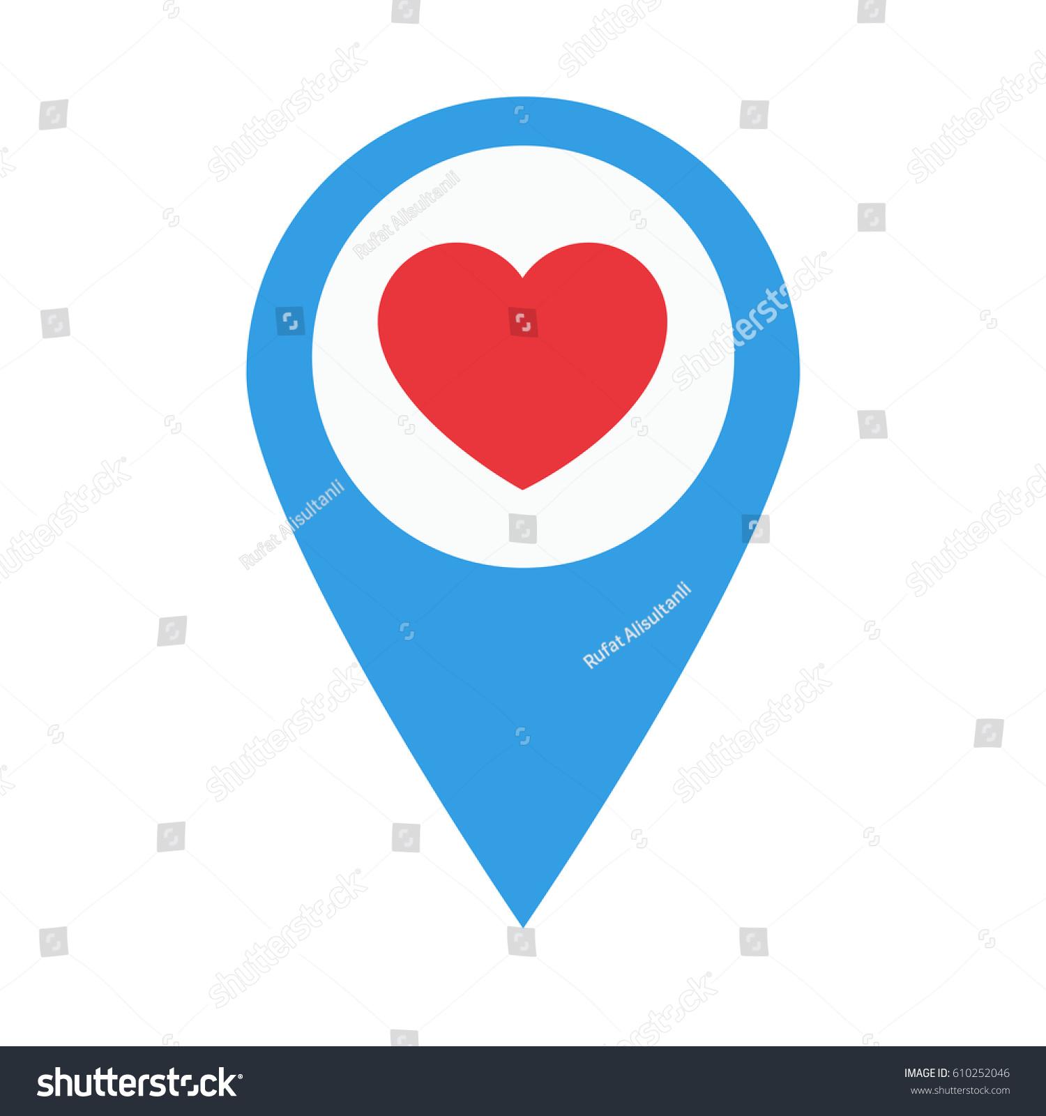 Heart symbol location design flat icon stock vector for Location design