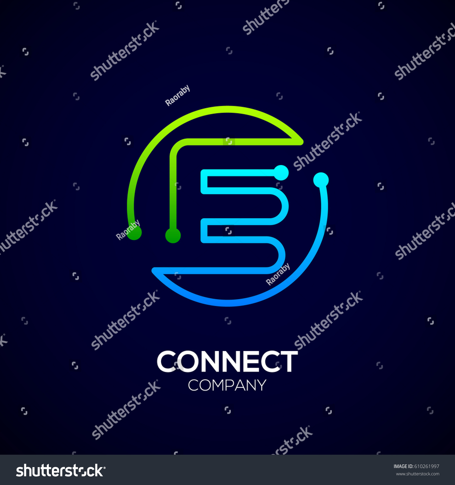 Letter e logo circle shape symbol stock vector 610261997 letter e logo circle shape symbol green and blue color technology and digital biocorpaavc Images