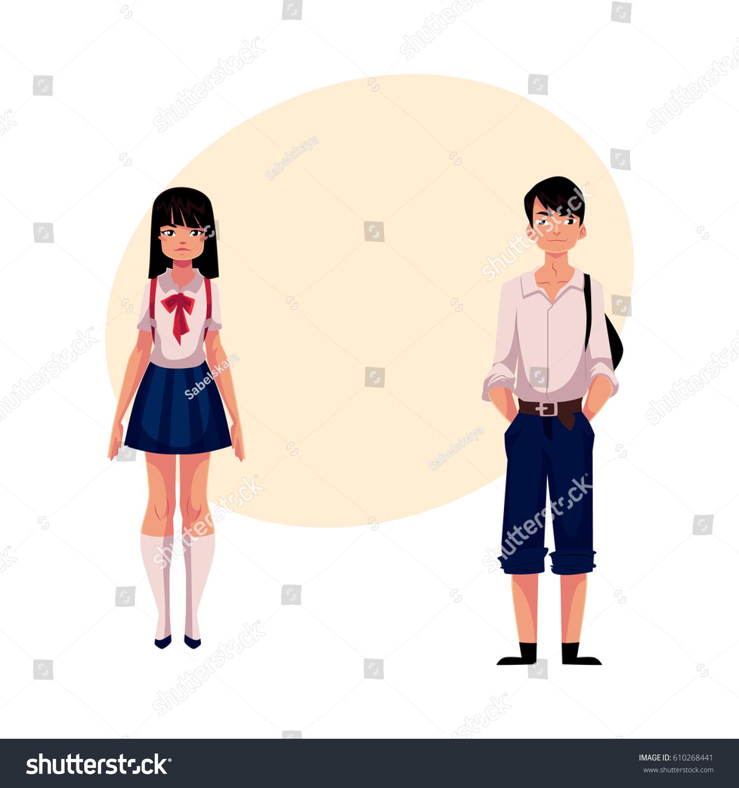 Typical Teenage Japanese Students Schoolgirl Schoolboy ...