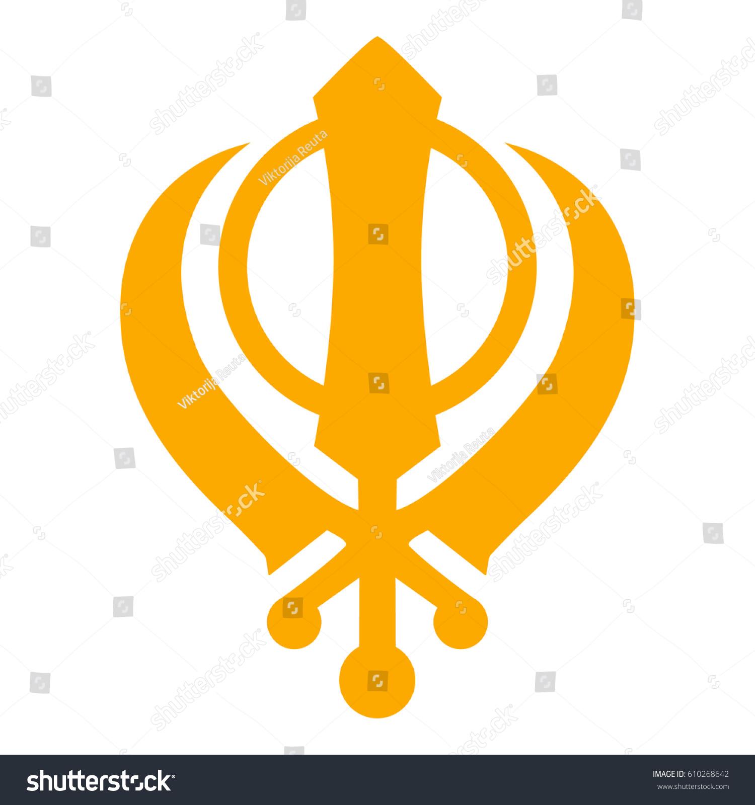 Raster Illustration Golden Silhouette Khanda Sikh Stock Illustration