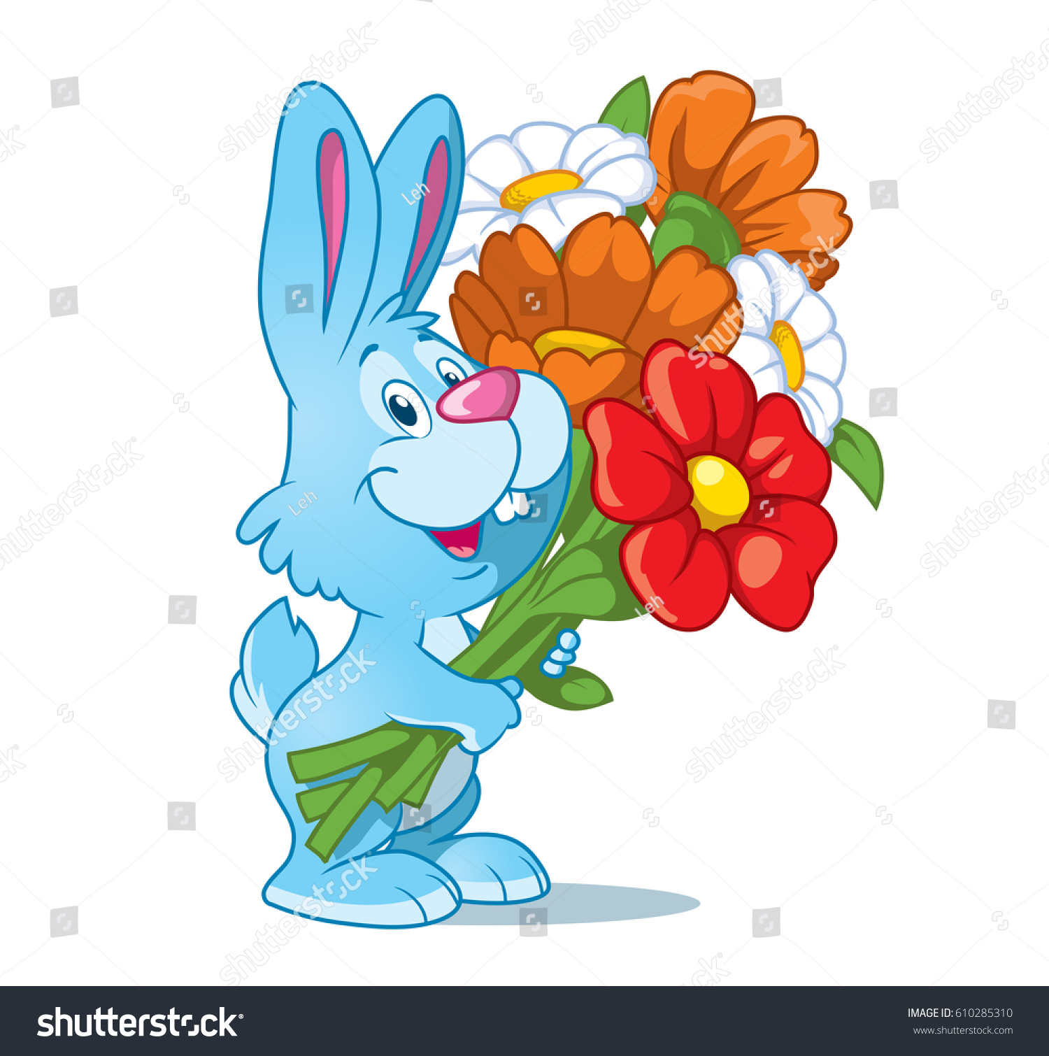 Cute Little Rabbit Bouquet Flowers Isolated Stock Vector 610285310 ...