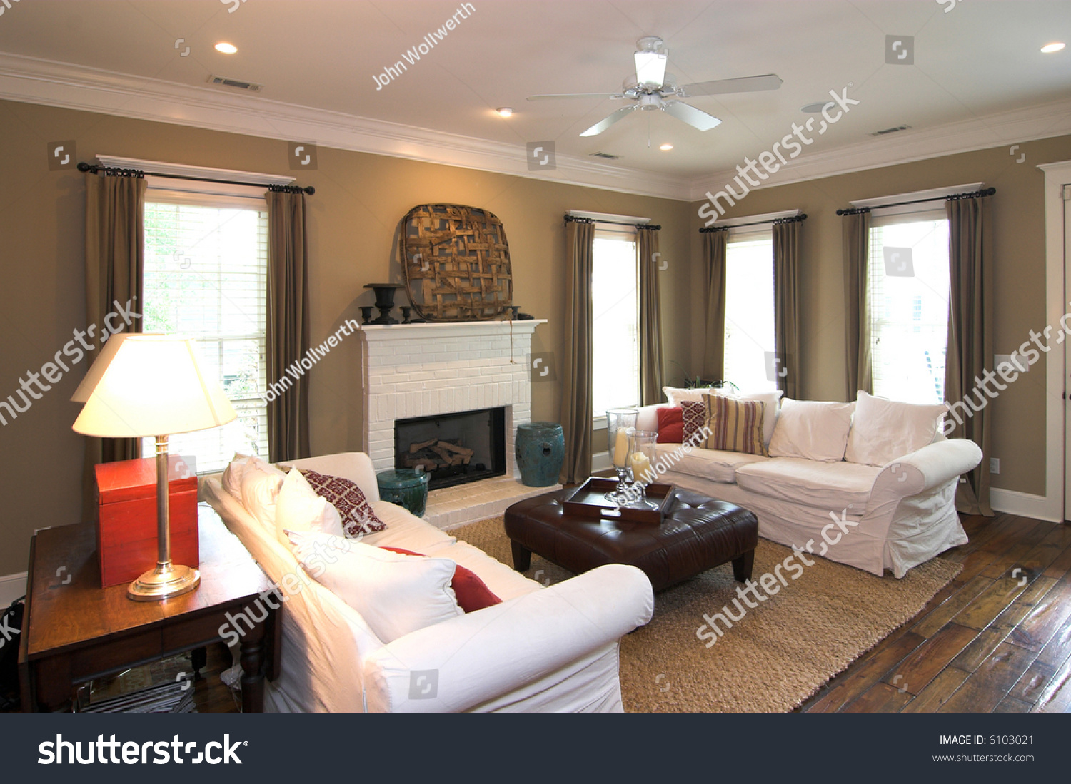 Comfortable, Well Decorated Livingroom Stock Photo 6103021