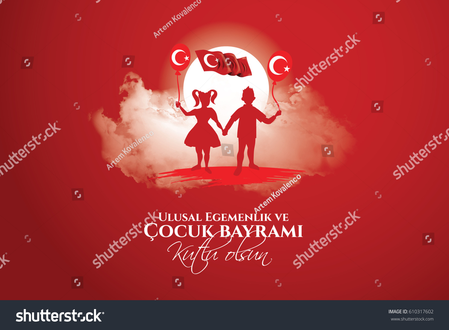 vector illustration of the cocuk baryrami 23 nisan , translation: Turkish April 23 National Sovereignty and Children's Day, graphic design to the Turkish holiday, kids icon, children logo. #610317602