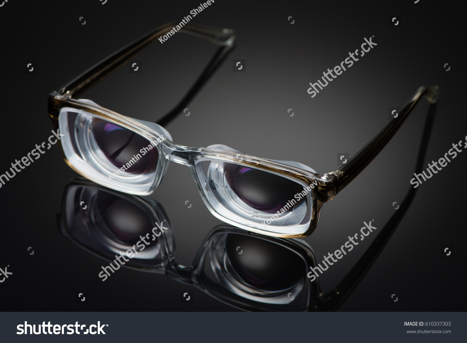 ea2e508993 Strong minus glasses with thick lenticular lenses for high myopia bad vision  and poor eyesight
