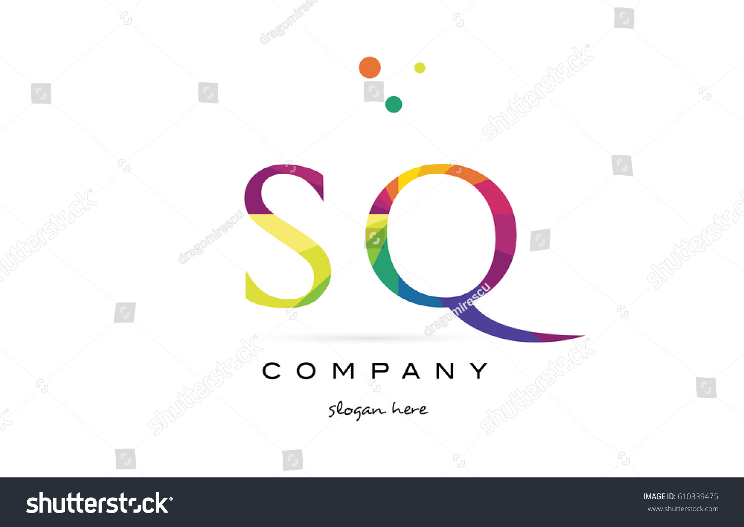 sq s q creative rainbow colors colored alphabet company letter logo design  vector icon template
