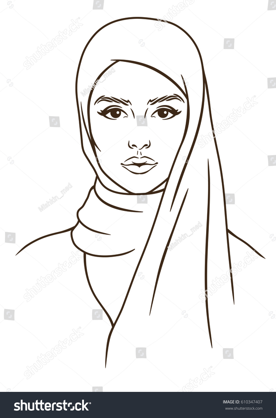 how to draw a head scarf