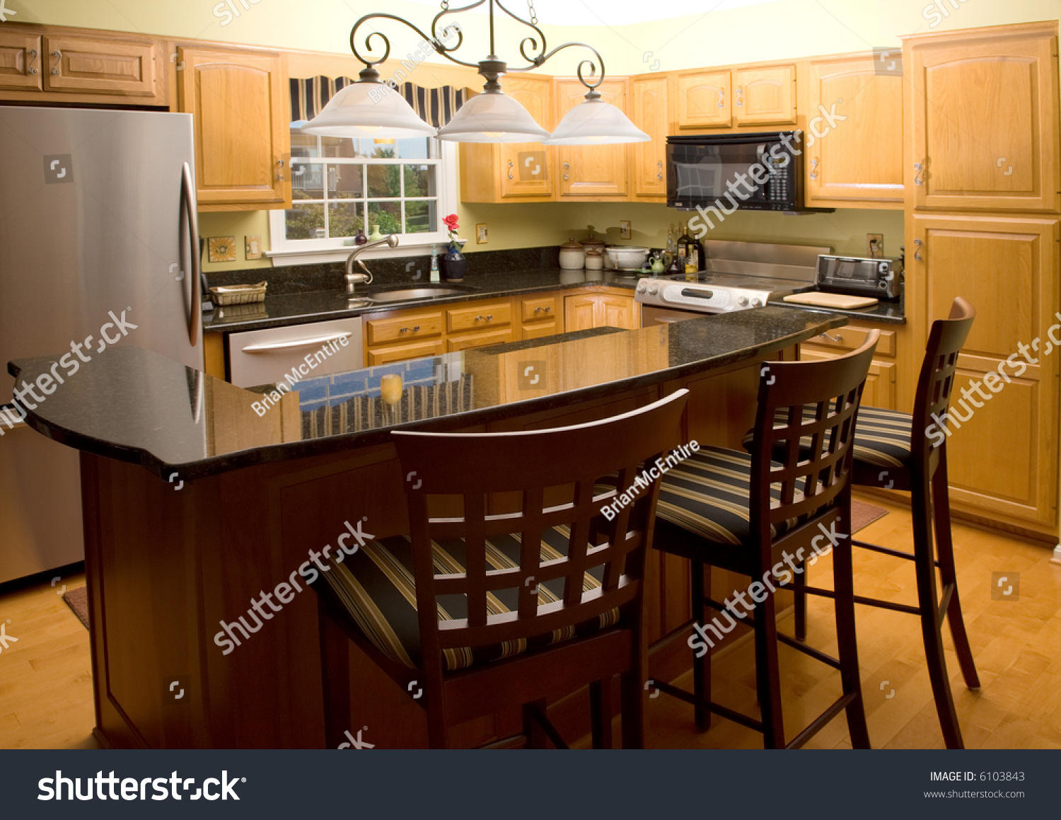 High-End Luxury Modern Kitchen With Granite Counter Tops
