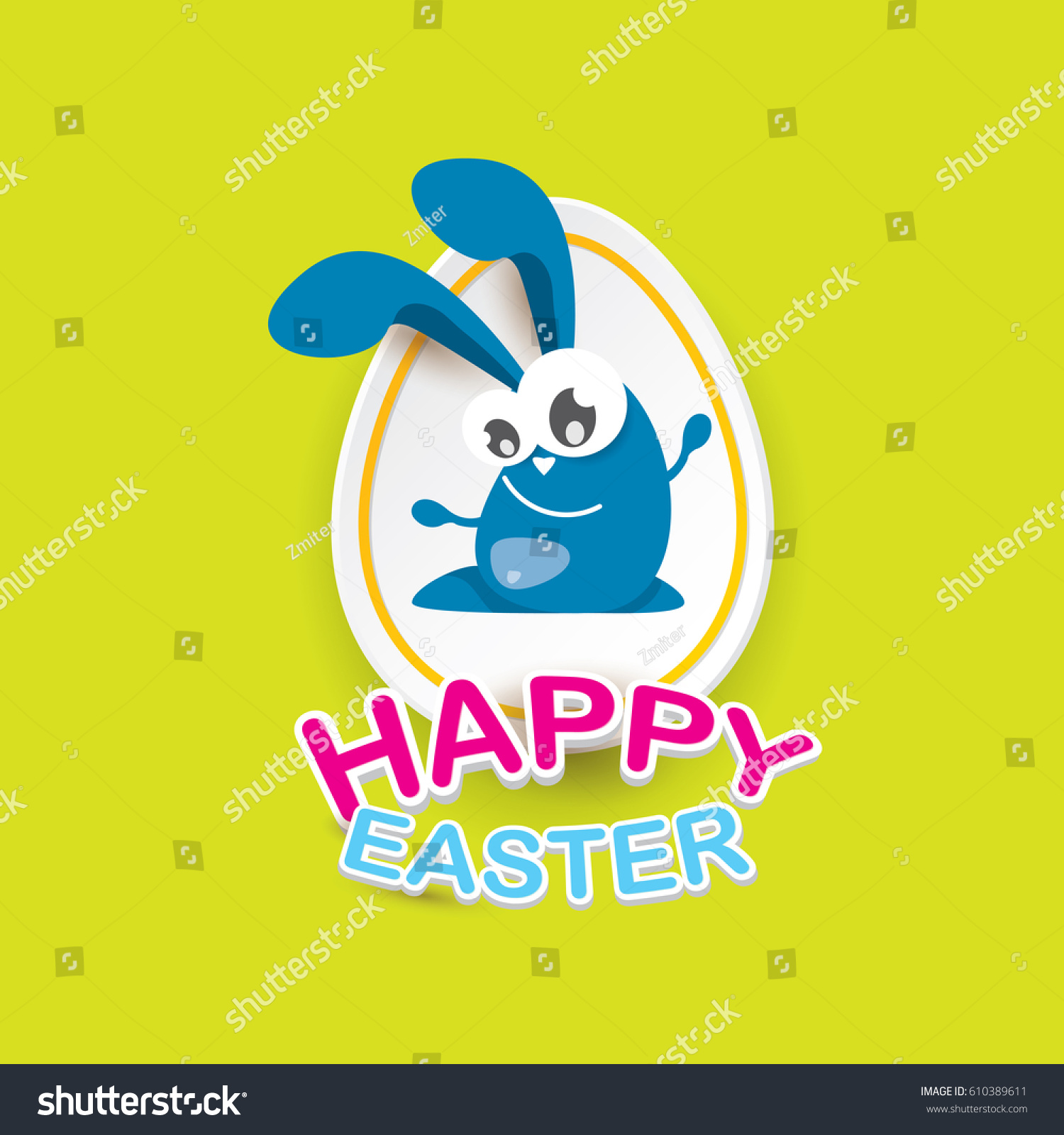 Vector Happy Easter Greeting Card Eggs Stock Vector Royalty Free
