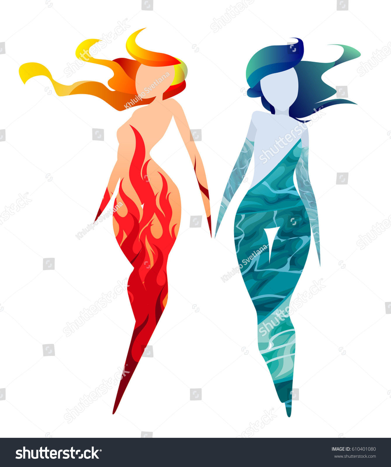 Fire water elements human form two stock vector 610401080 fire and water elements in human form two slim girls a symbol of biocorpaavc Choice Image