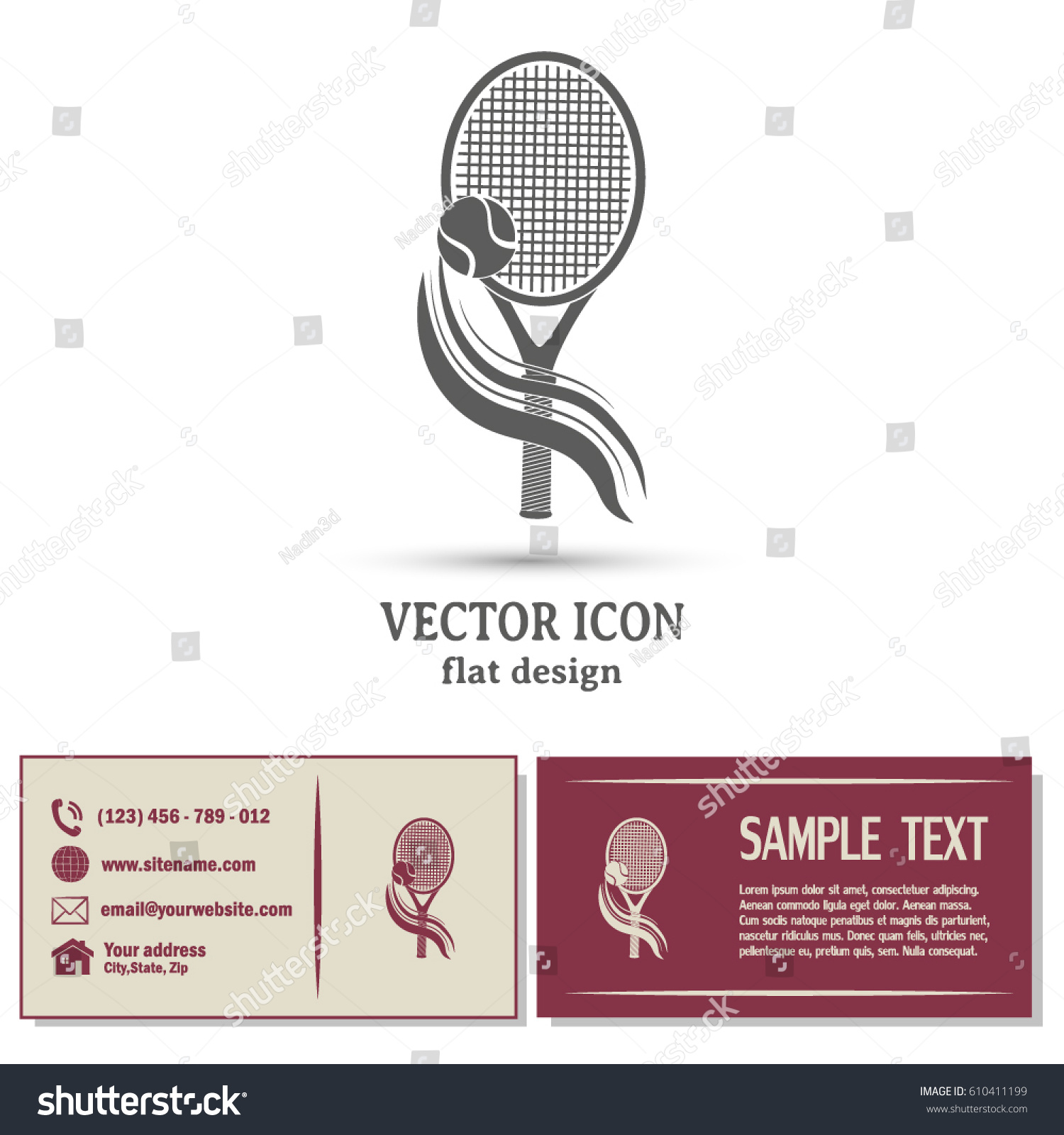 Business Cards Design Tennis Icon Stock Vector 610411199 ...