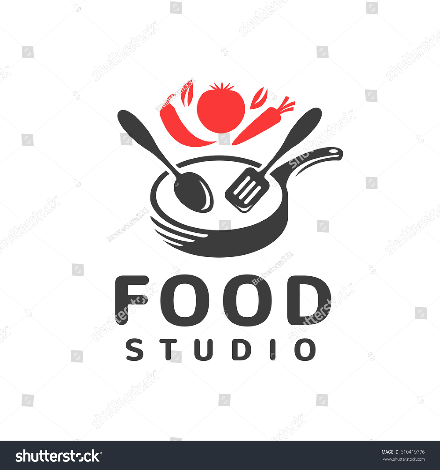 Restaurant Kitchen Toolste food studio vector logo kitchen tools stock vector 610419776